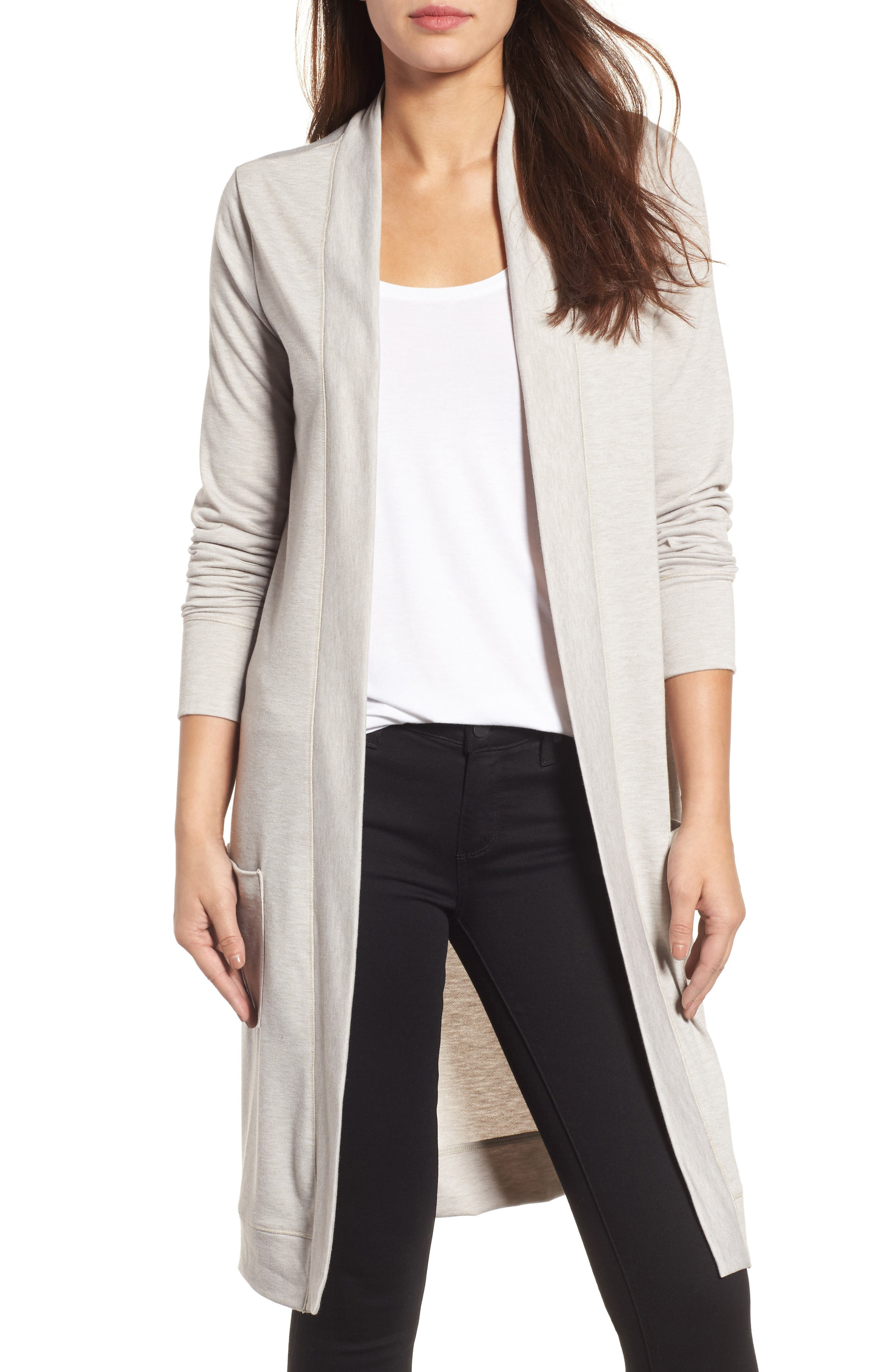 Long French Terry Cardigan,                             Main thumbnail 3, color,