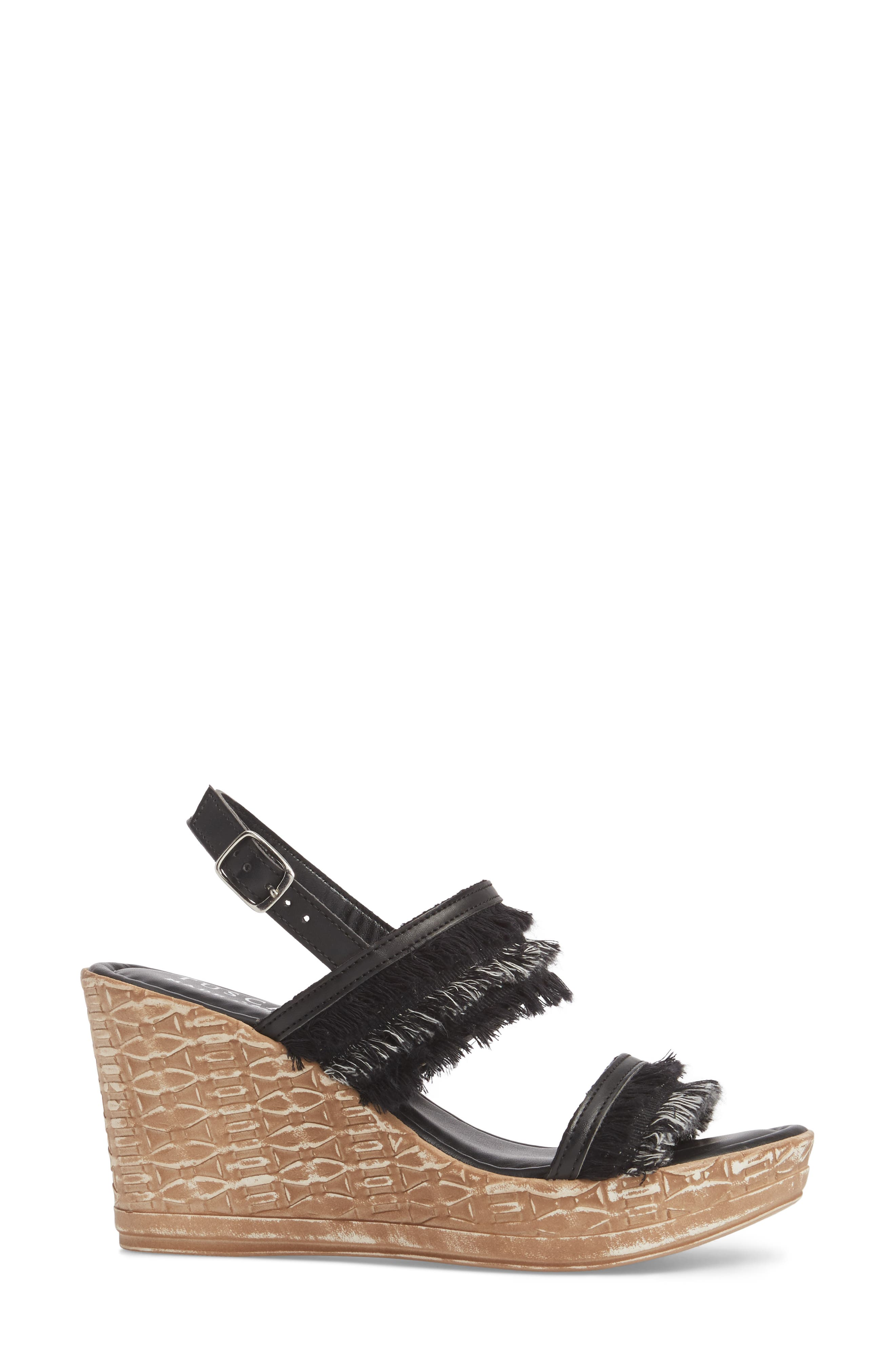 by Easy Street<sup>®</sup> Zaira Wedge Espadrille Sandal,                             Alternate thumbnail 3, color,                             BLACK FAUX LEATHER