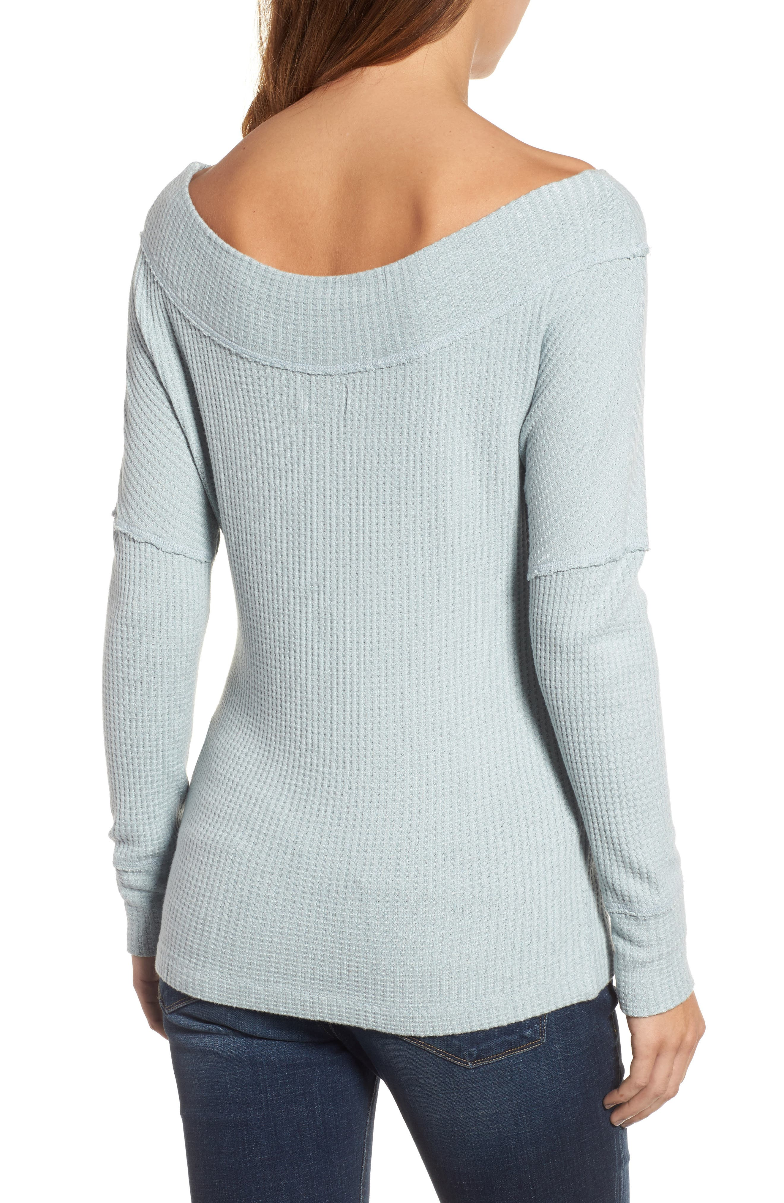 Off the Shoulder Thermal Knit Top,                             Alternate thumbnail 2, color,                             430