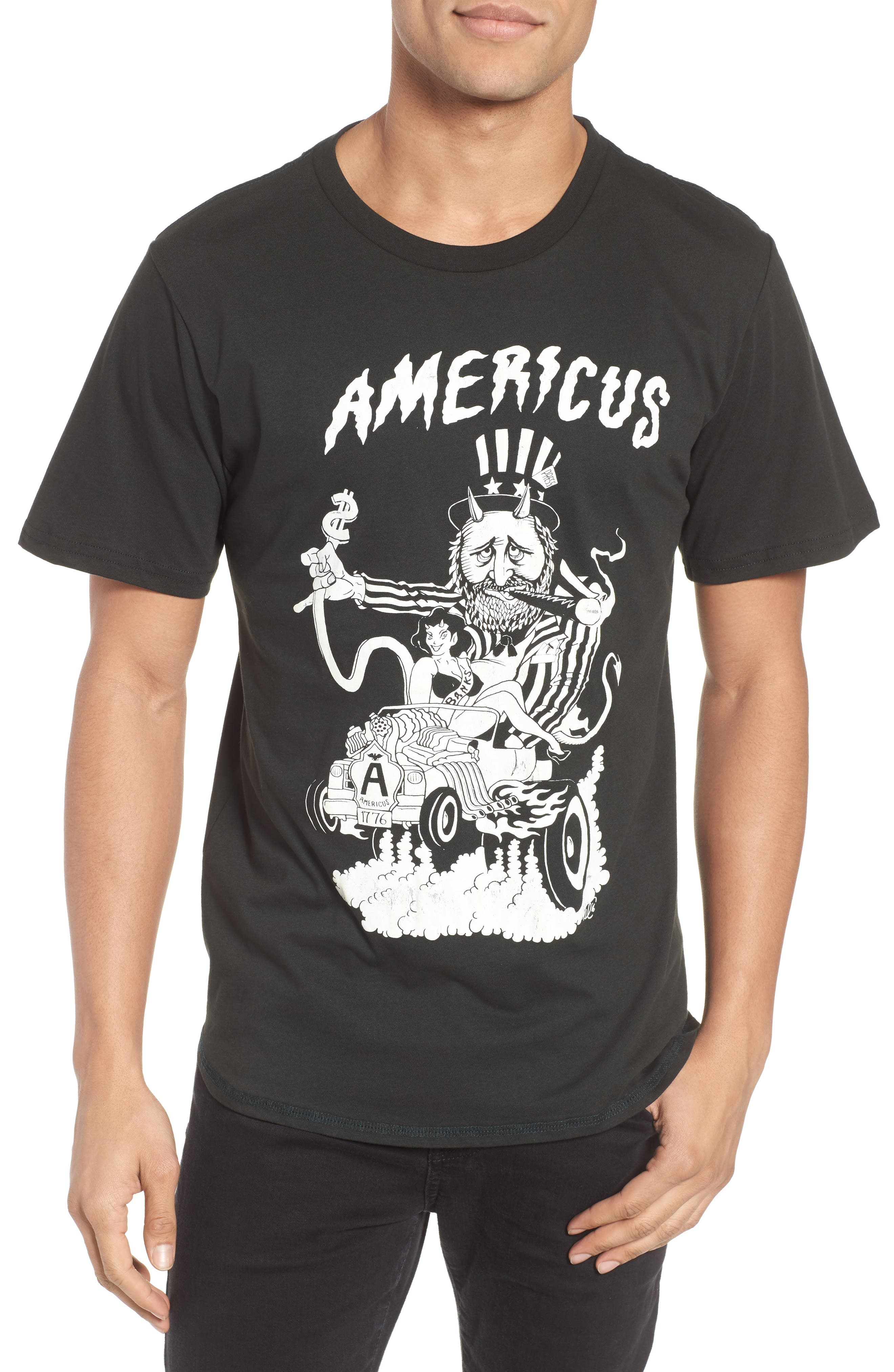 BARKING IRONS Engine Americus Graphic T-Shirt, Main, color, 001