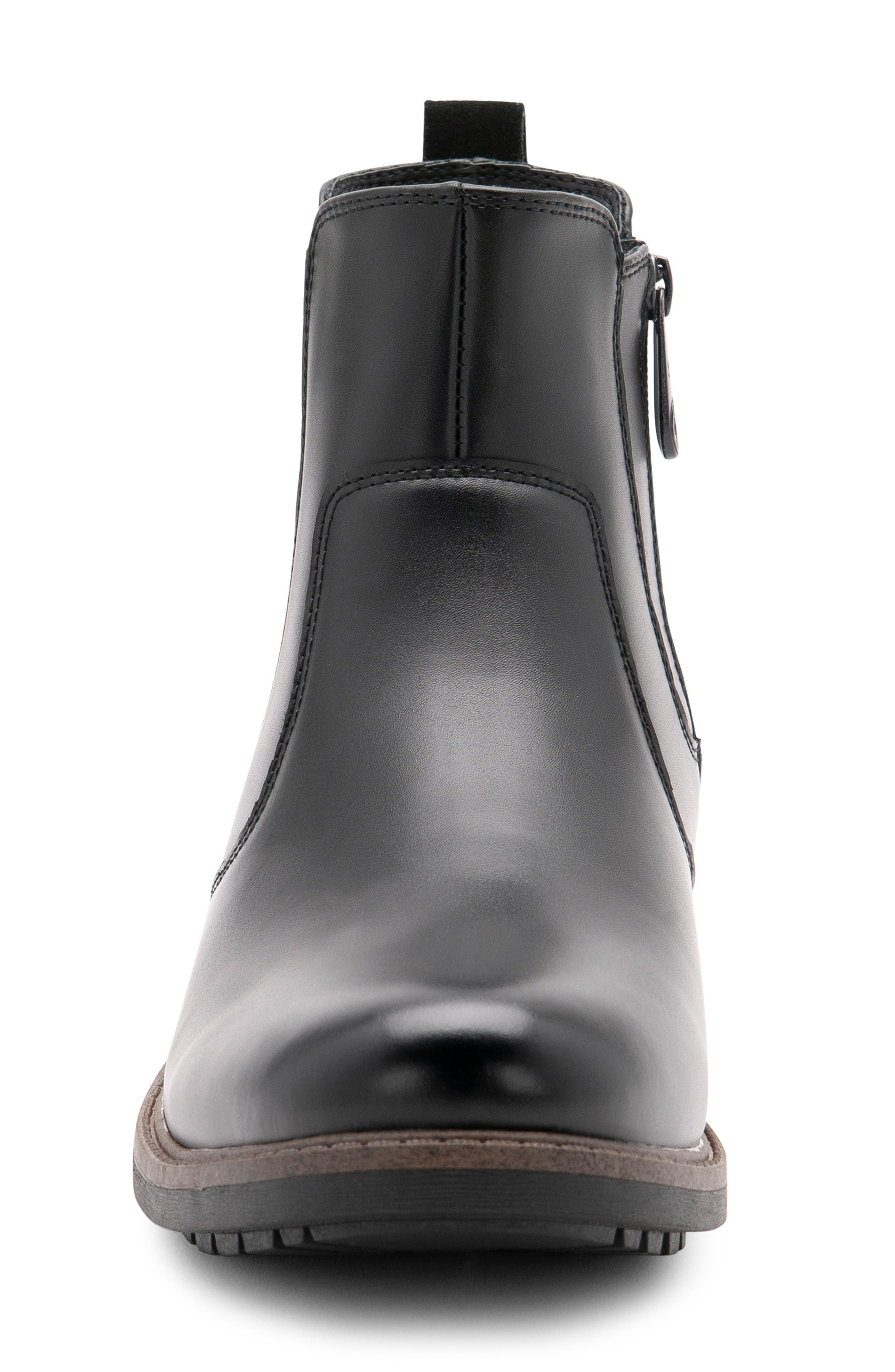 Shadow Waterproof Chelsea Boot,                             Alternate thumbnail 4, color,                             BLACK LEATHER
