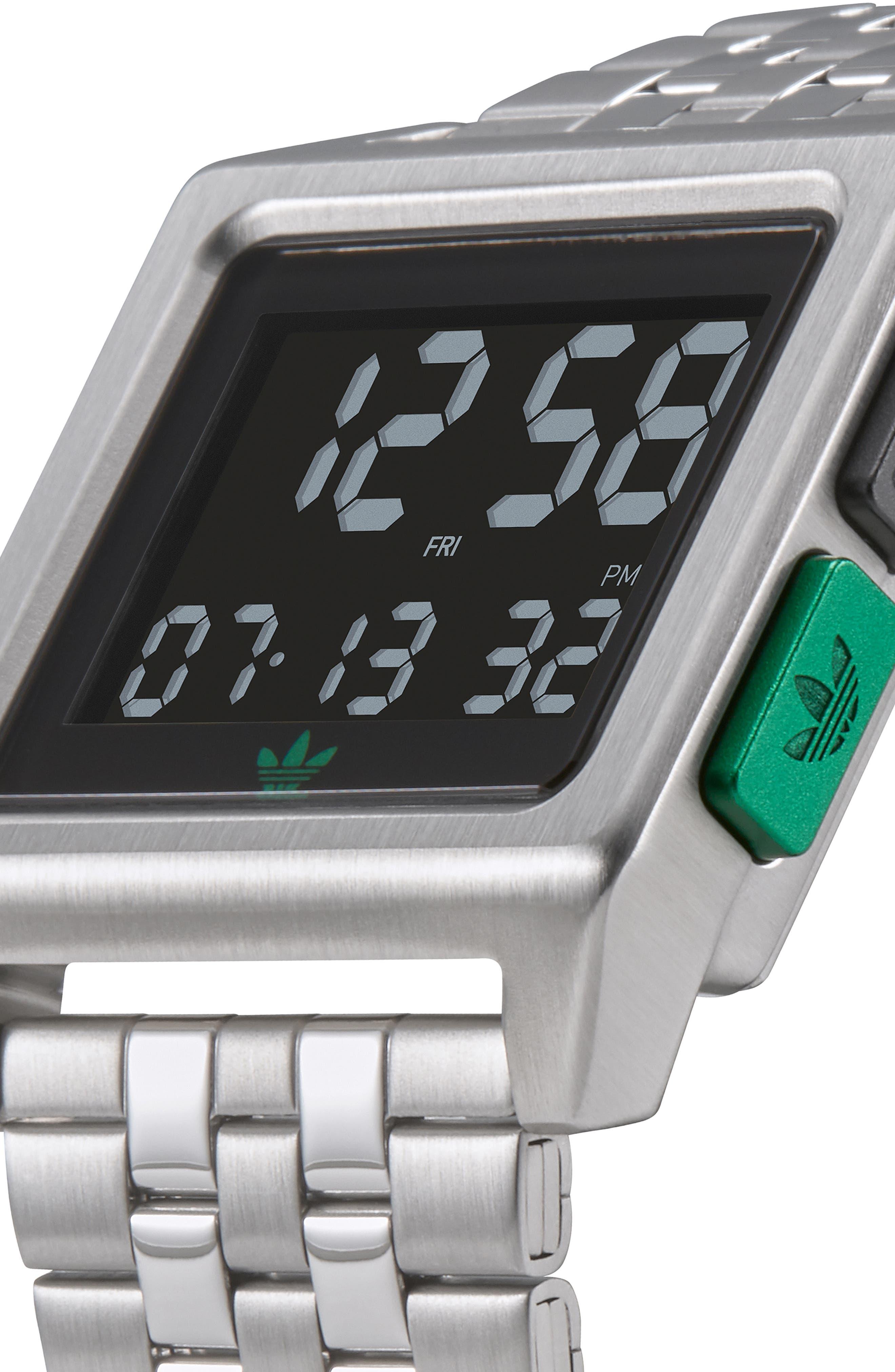 Archive Digital Bracelet Watch, 36mm,                             Alternate thumbnail 5, color,                             SILVER/ BLACK/ GREEN