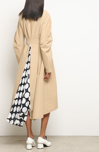 Round Sleeve Coat with Polka Dot Back Panel, video thumbnail