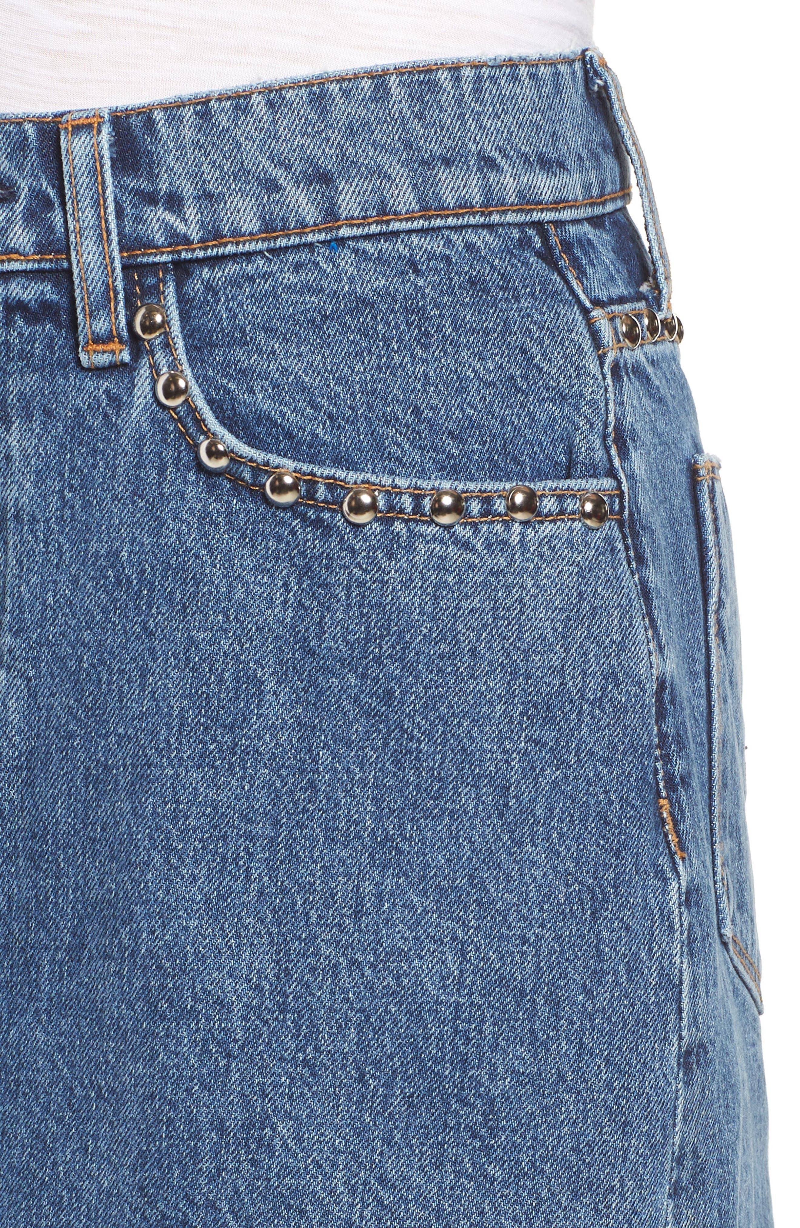 The Viper Cutoff Denim Miniskirt,                             Alternate thumbnail 4, color,                             VIBRANT LIFE