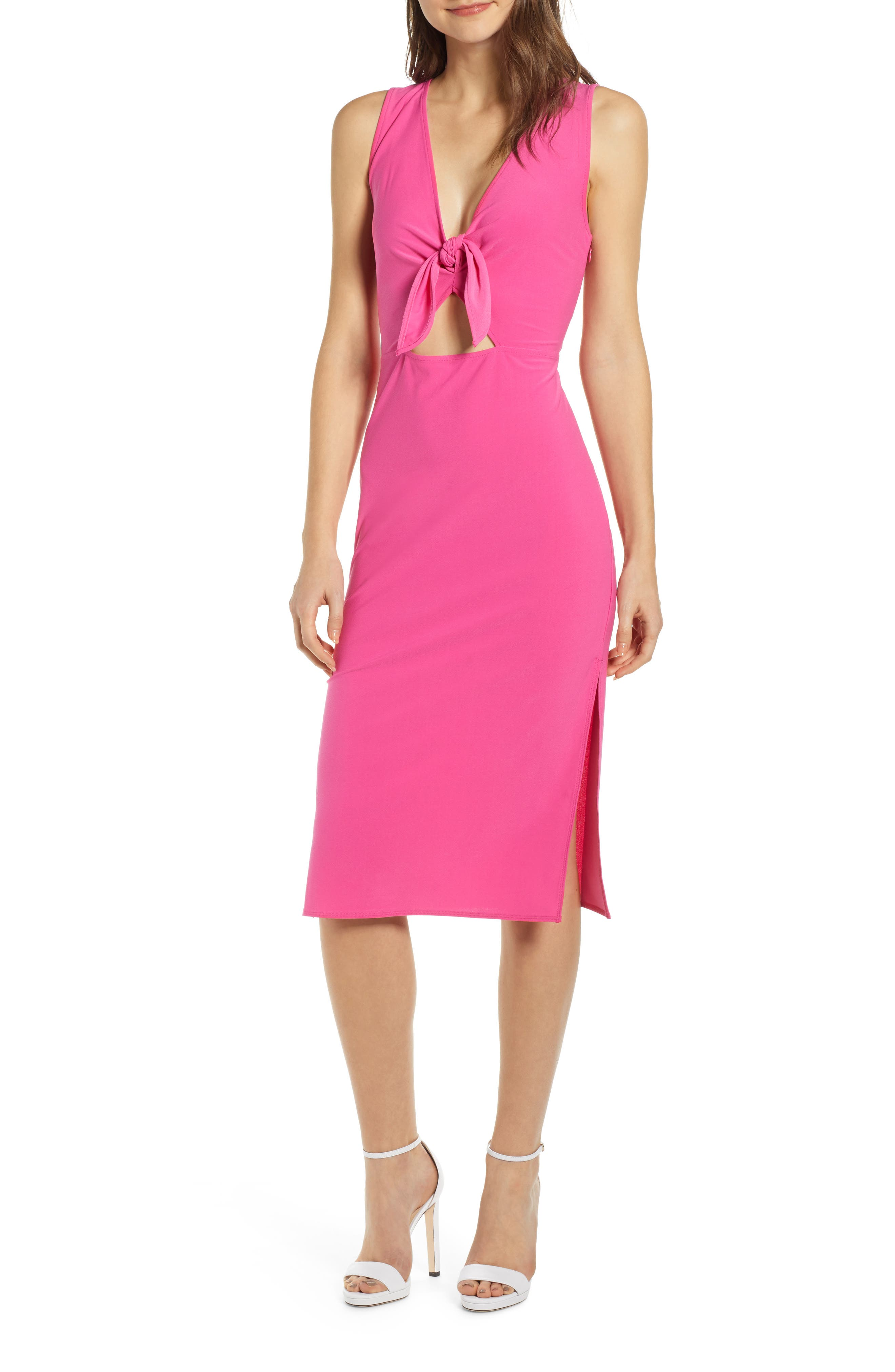 Leith Tie Front Midi Dress, Pink