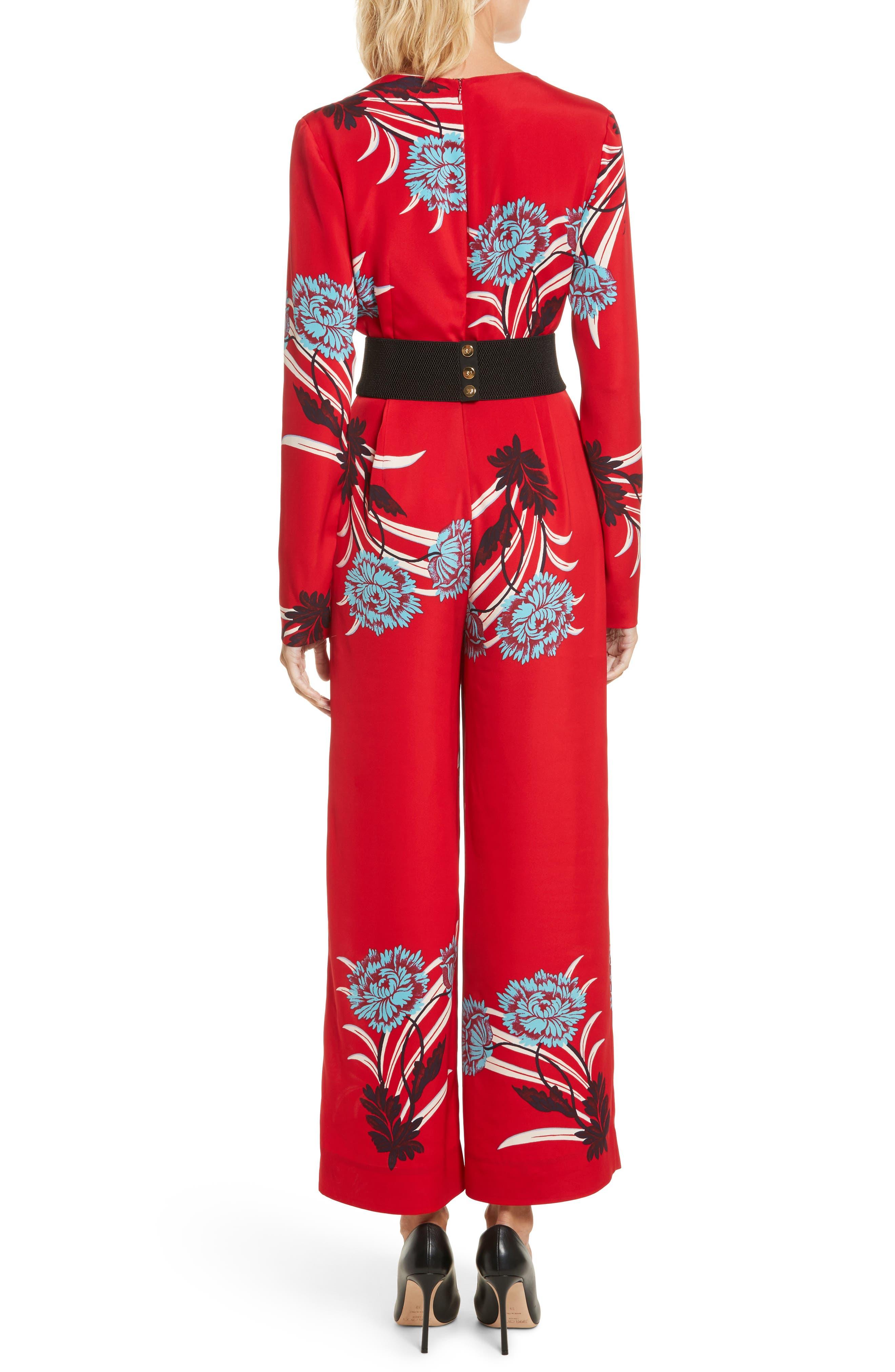 DIANE VON FURSTENBERG,                             Floral Print Crossover Jumpsuit,                             Alternate thumbnail 2, color,                             648