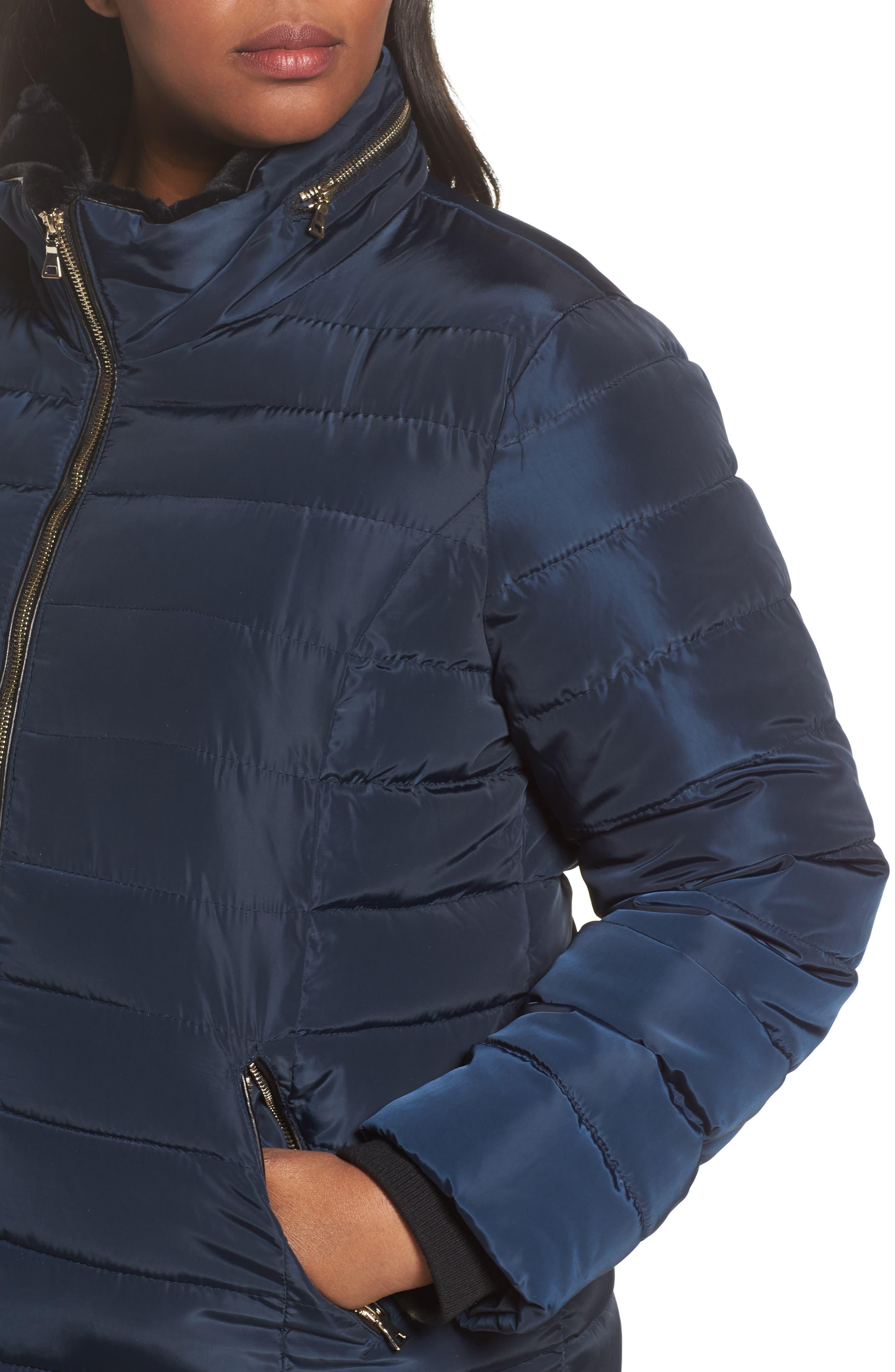 Faux Fur Trim Hooded Puffer Jacket,                             Alternate thumbnail 4, color,                             400