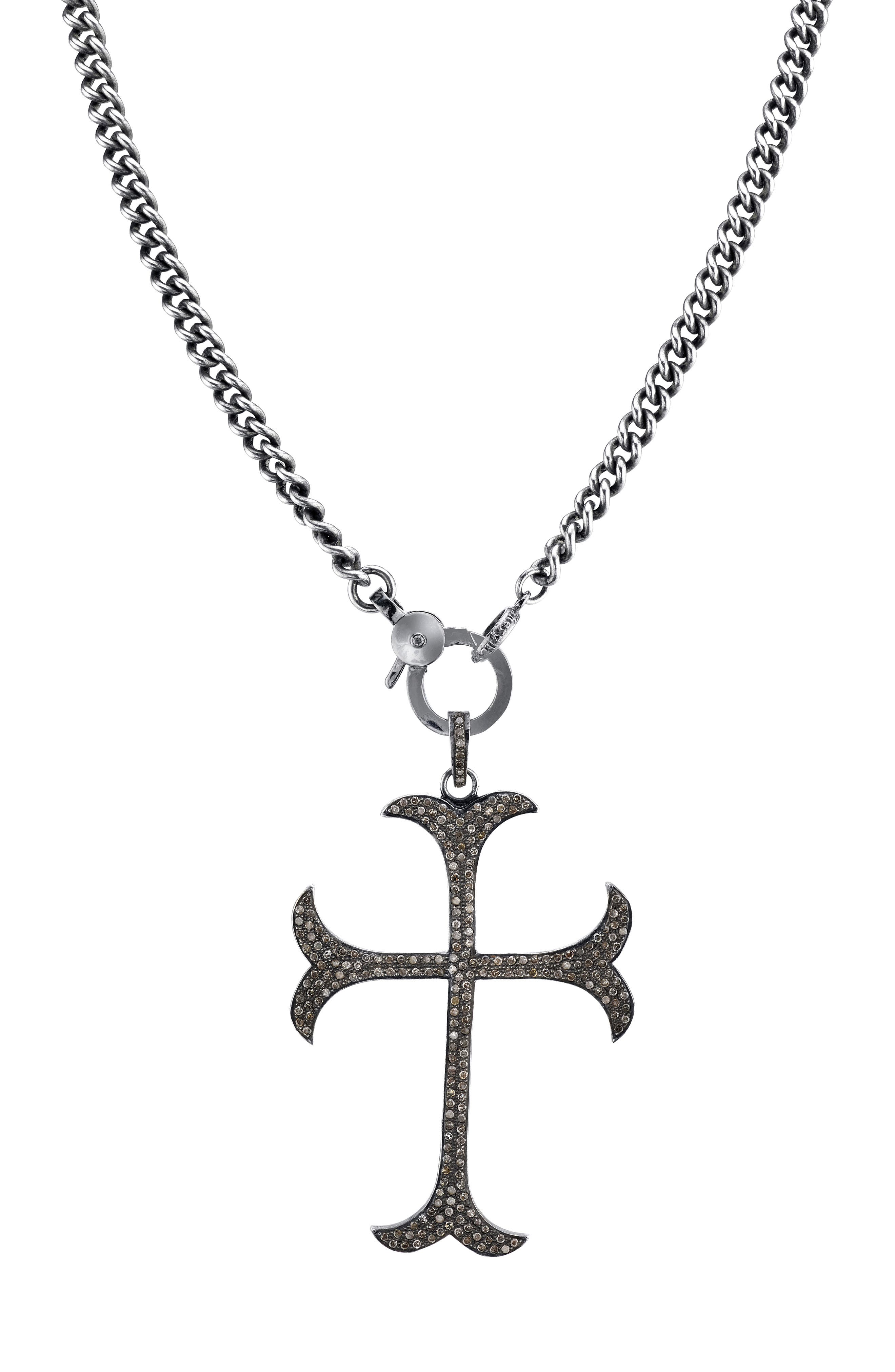 SHERYL LOWE Gothic Cross Diamond Pendant Necklace in Sterling Silver