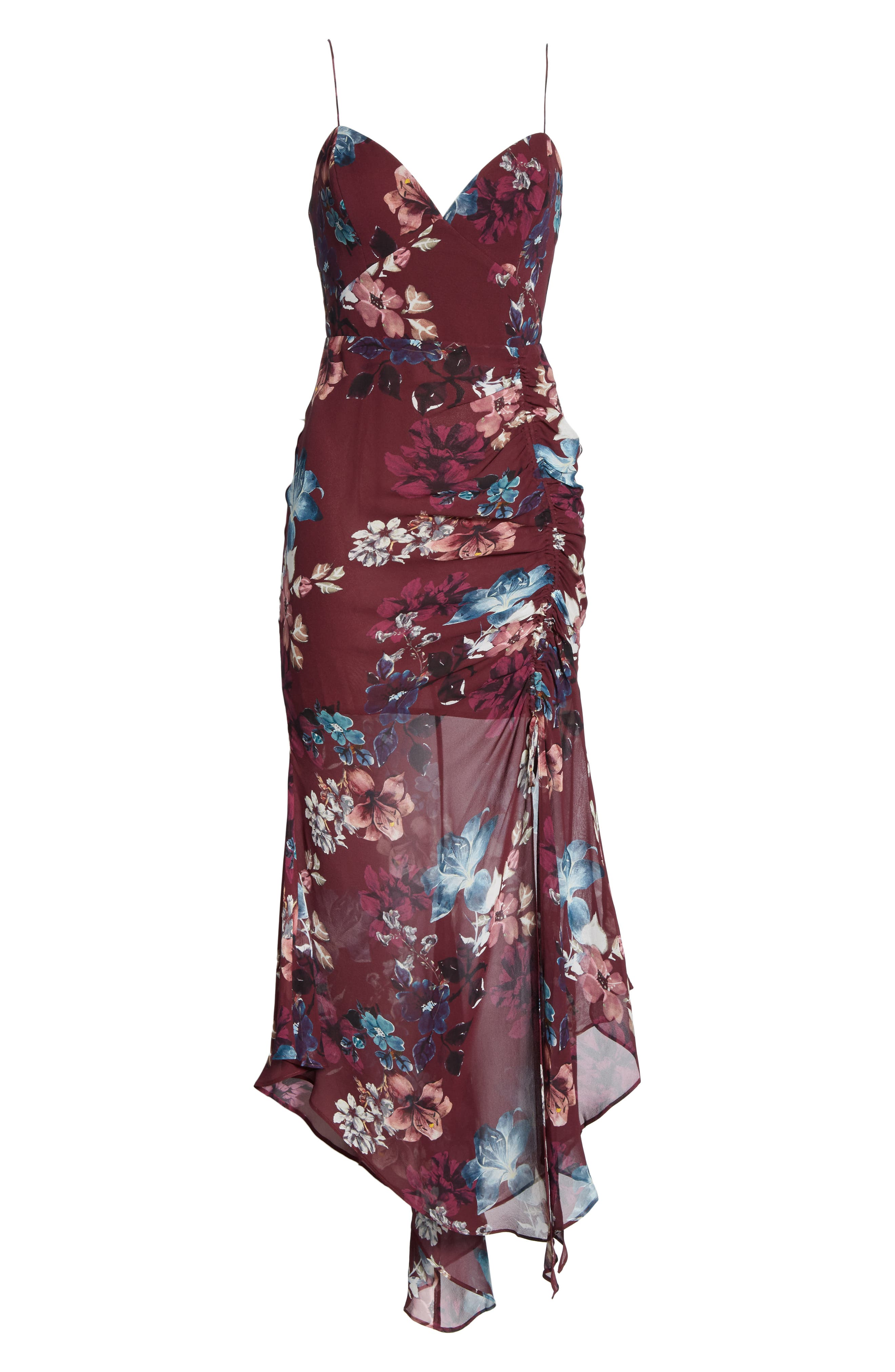 Floral Silk Drawstring Dress,                             Alternate thumbnail 6, color,                             930