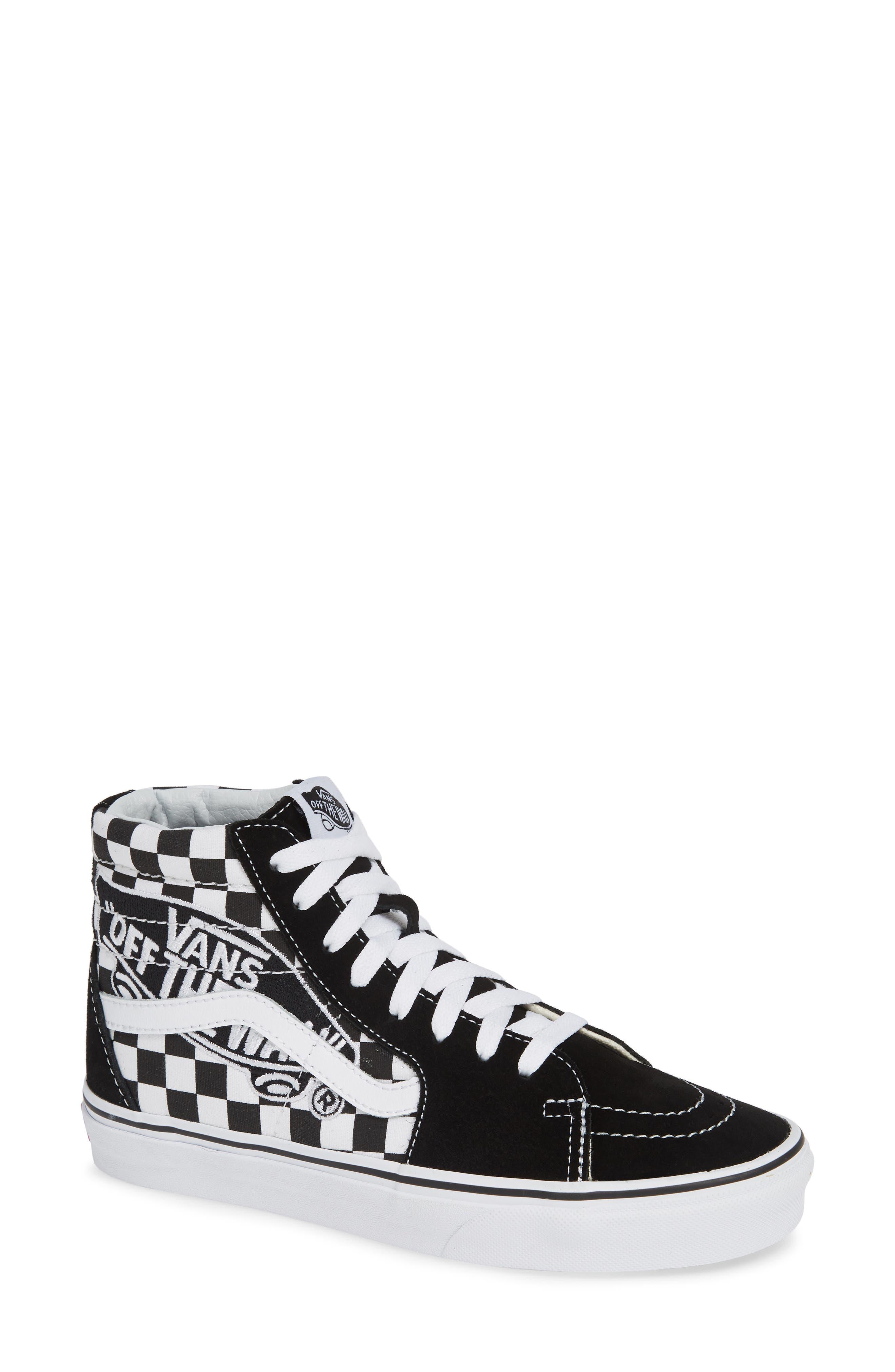 Sk8-Hi Patch High Top Sneaker,                             Main thumbnail 1, color,                             BLACK/ TRUE WHITE