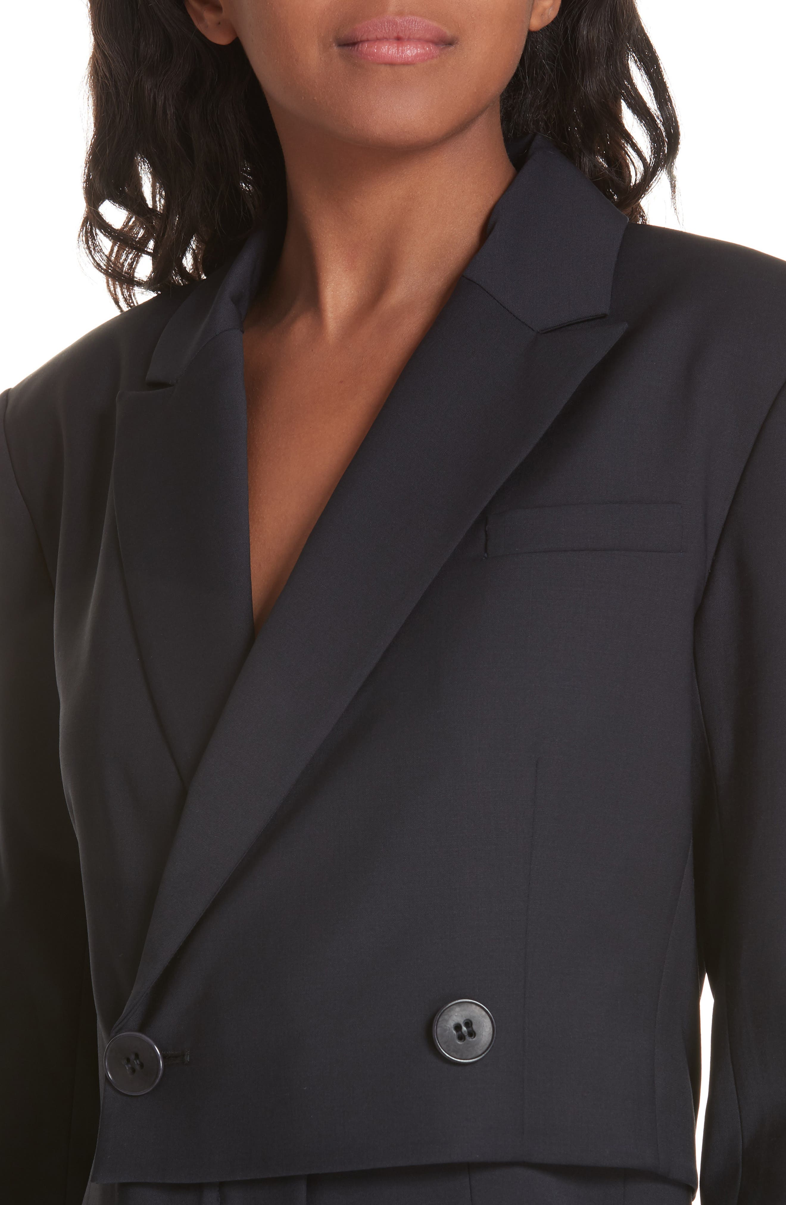 TIBI,                             Plain Weave Blazer Jumpsuit,                             Alternate thumbnail 5, color,                             DARK NAVY