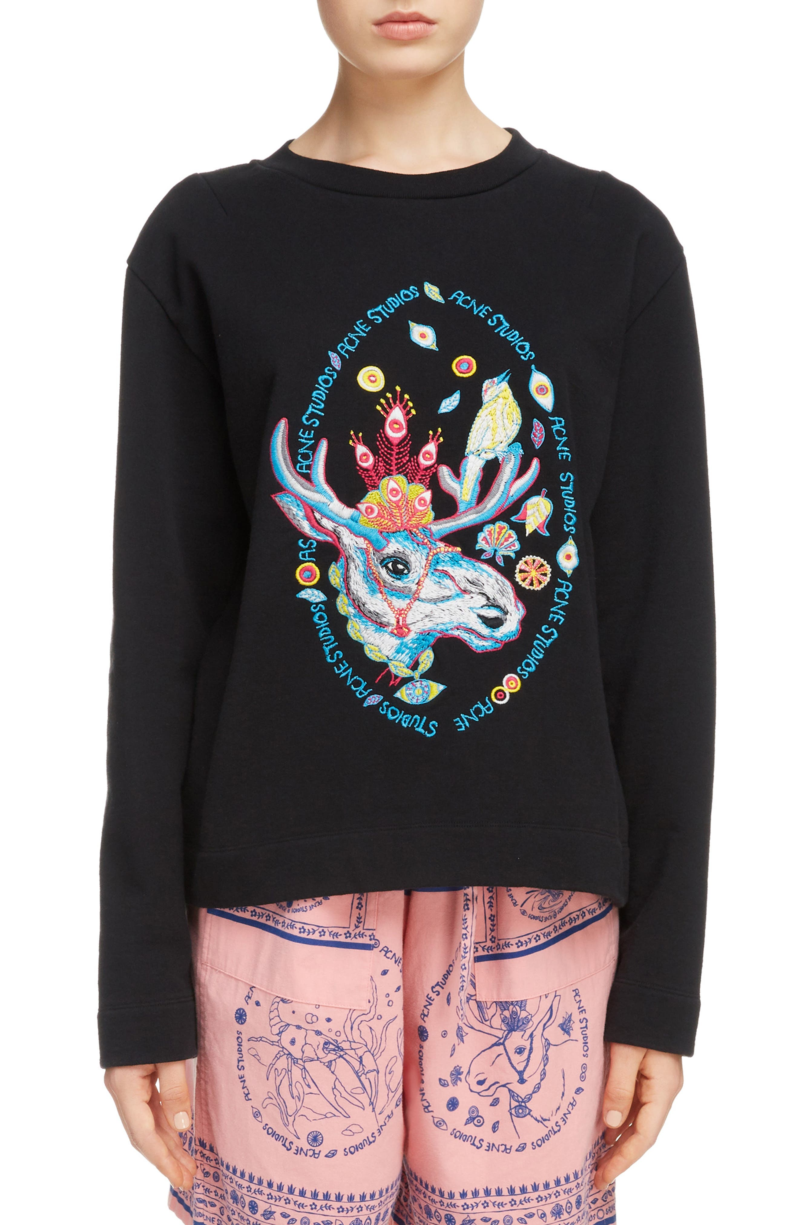Oslavi Embroidered Moose Sweatshirt,                             Main thumbnail 1, color,                             001