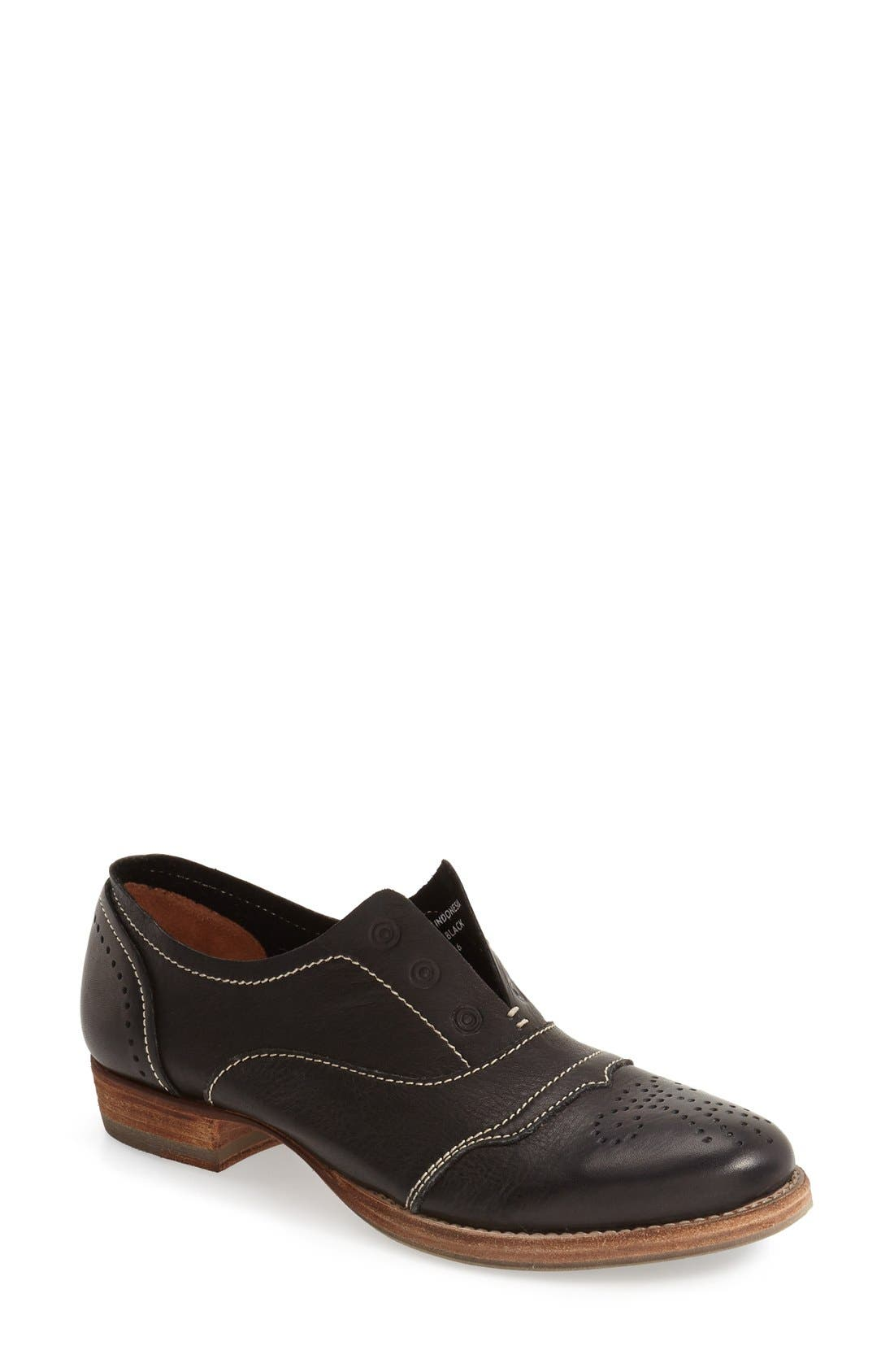 'HL55' Slip-On Oxford,                         Main,                         color, BLACK LEATHER