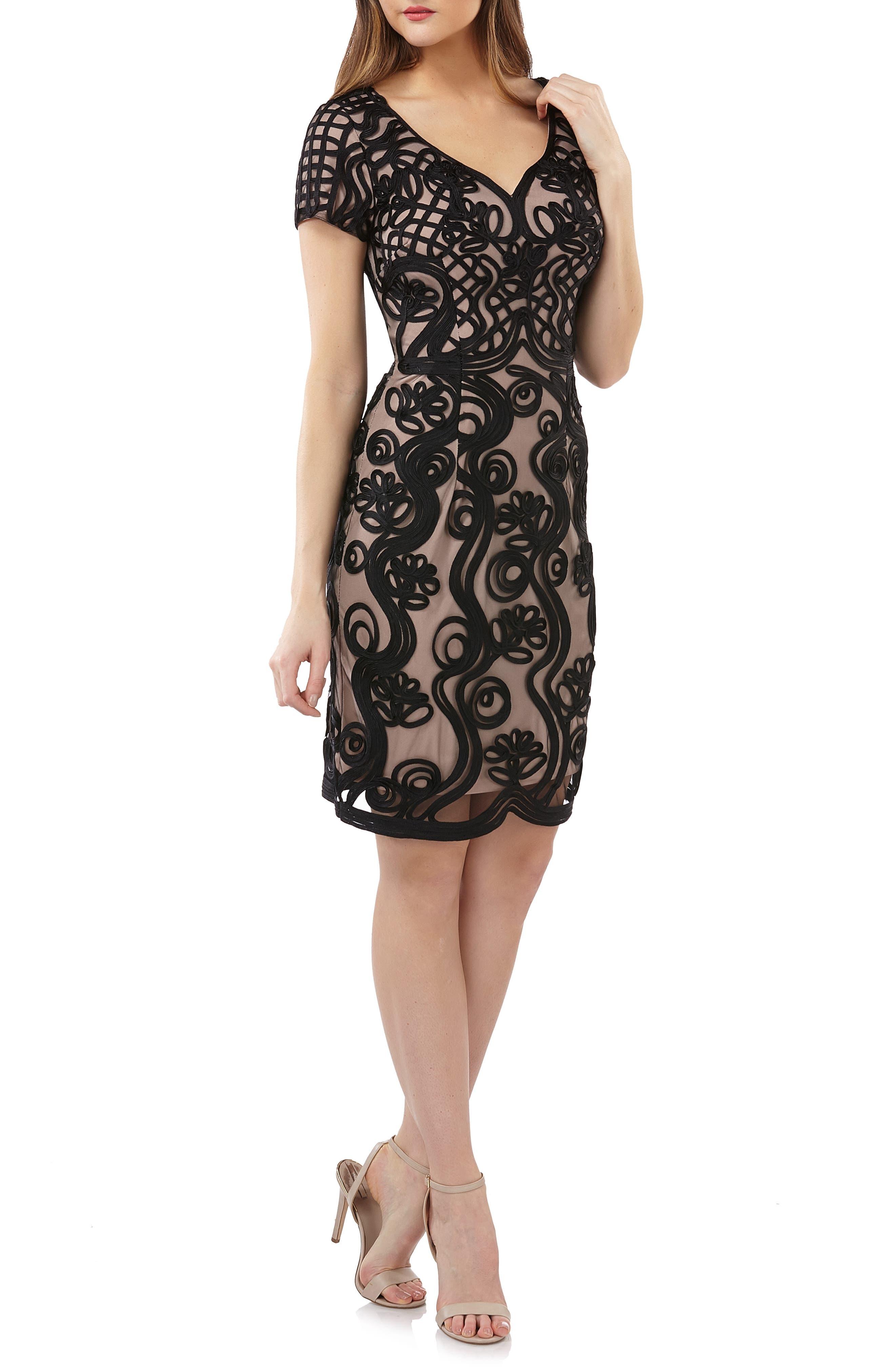 Js Collections Soutache Mesh Sheath Dress, Black
