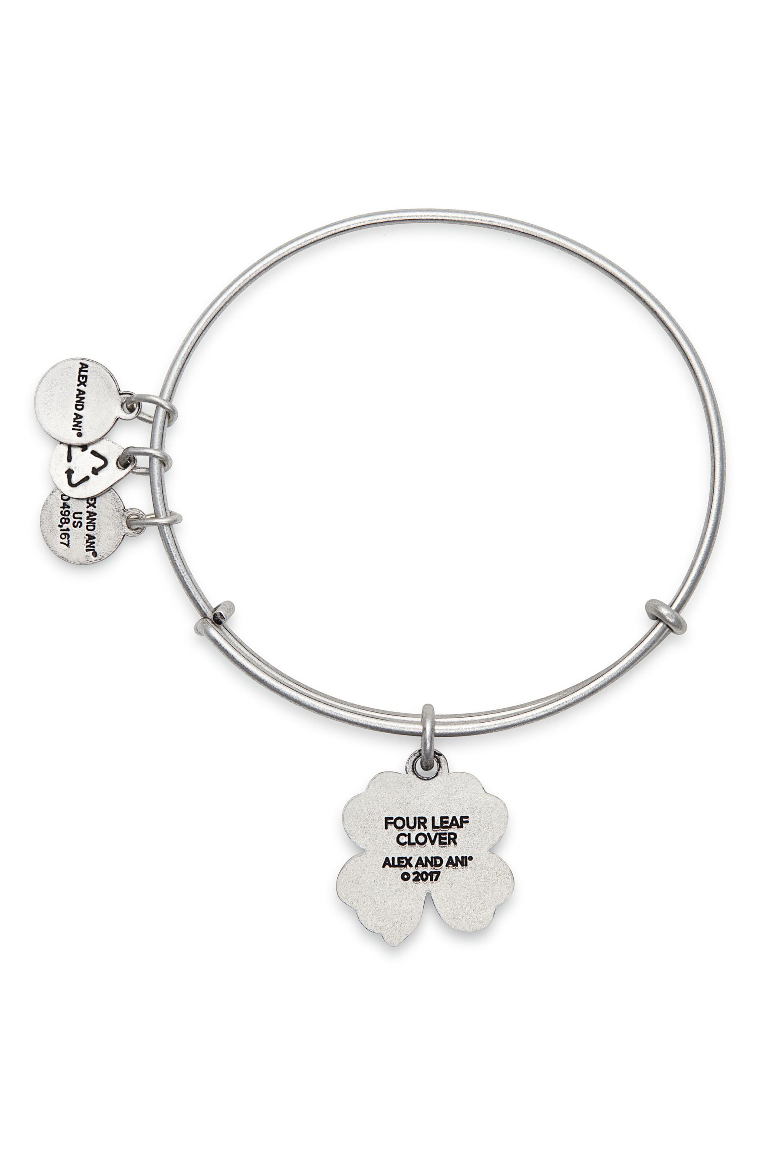 Four-Leaf Clover Adjustable Wire Bangle,                             Alternate thumbnail 2, color,                             RUSSIAN SILVER