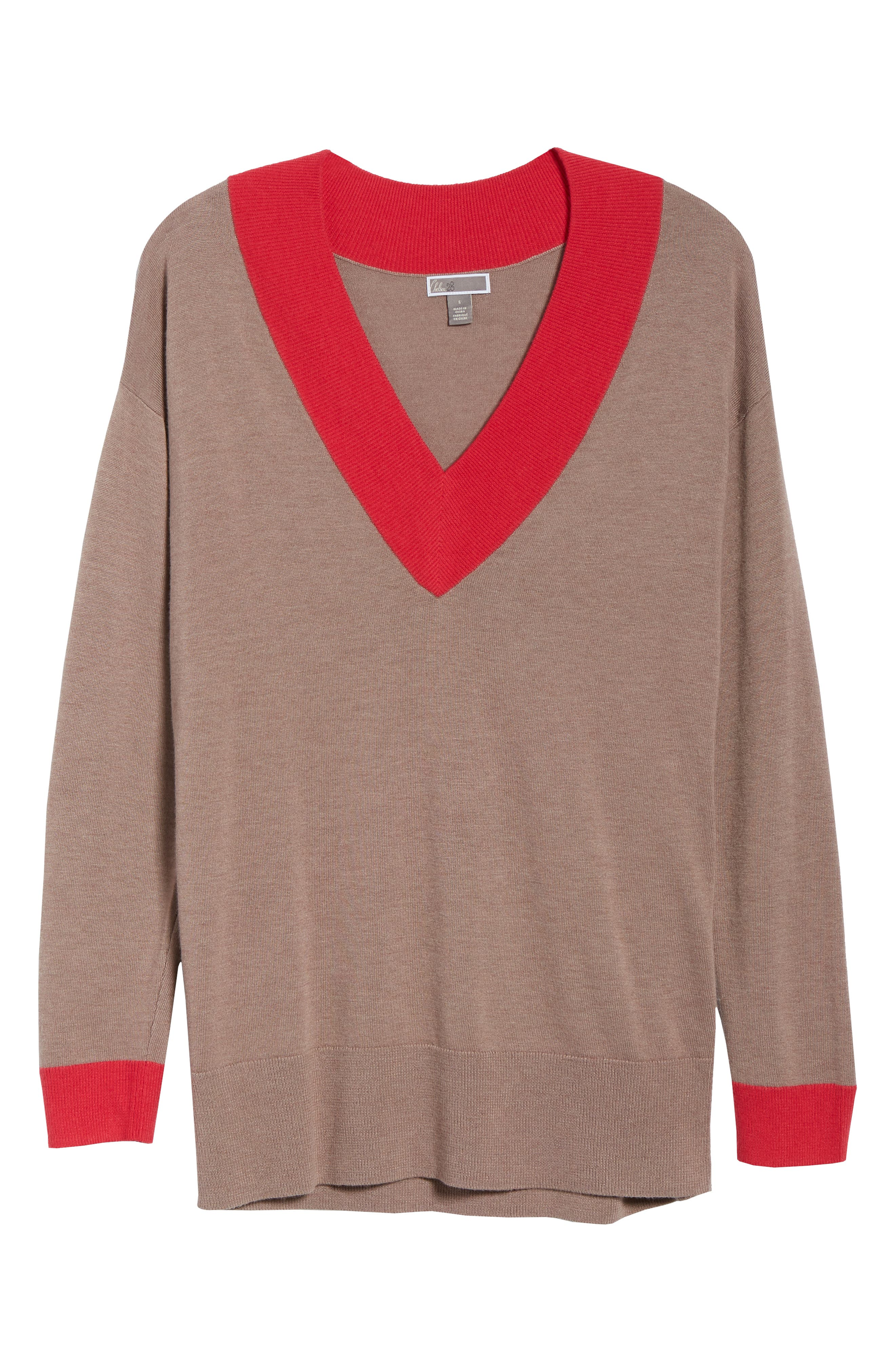 CHELSEA28,                             V-Neck Sweater,                             Alternate thumbnail 6, color,                             PINK FAWN HEATHER COMBO