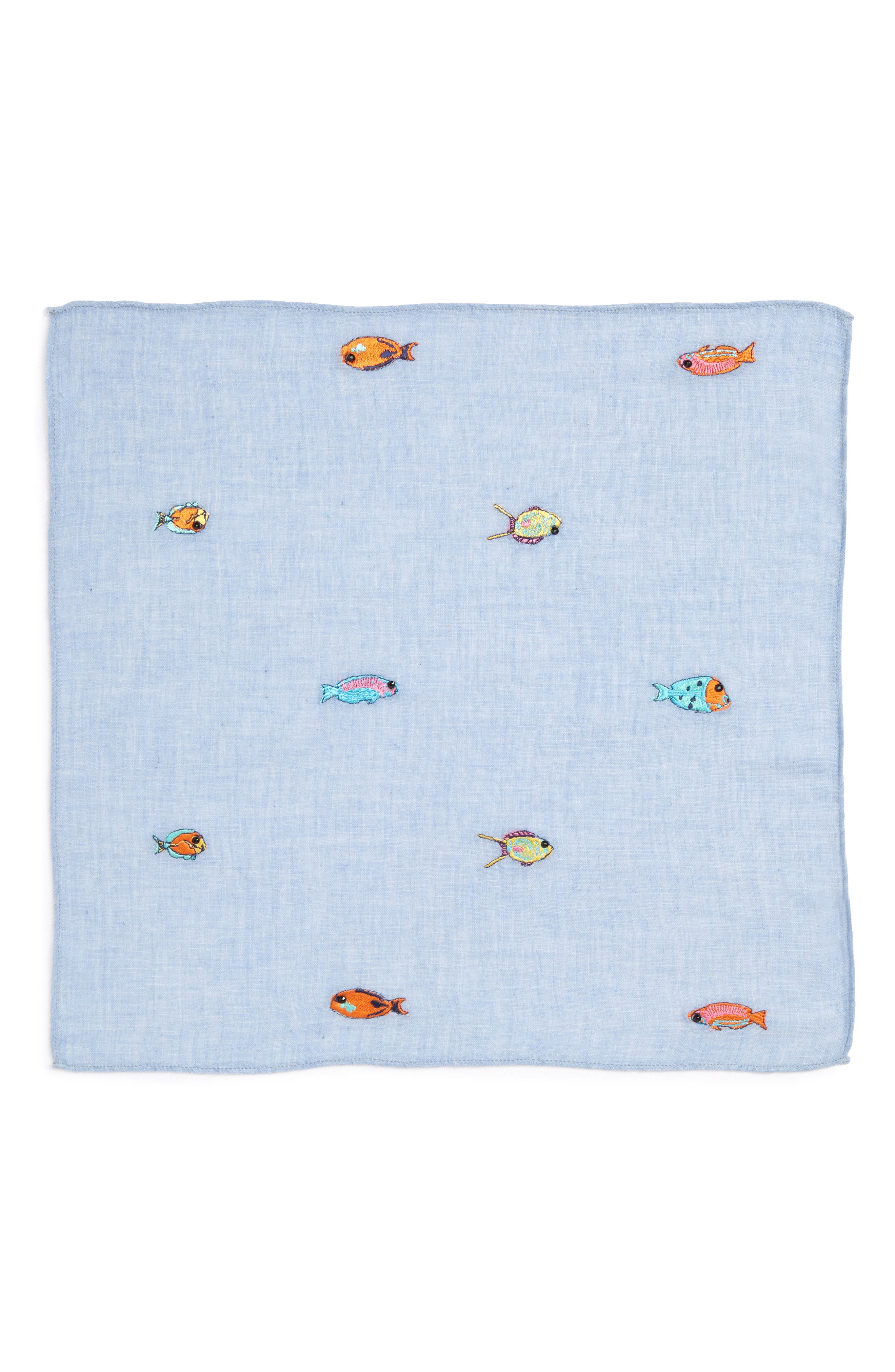 Embroidered Fish Pocket Square,                             Alternate thumbnail 2, color,                             424