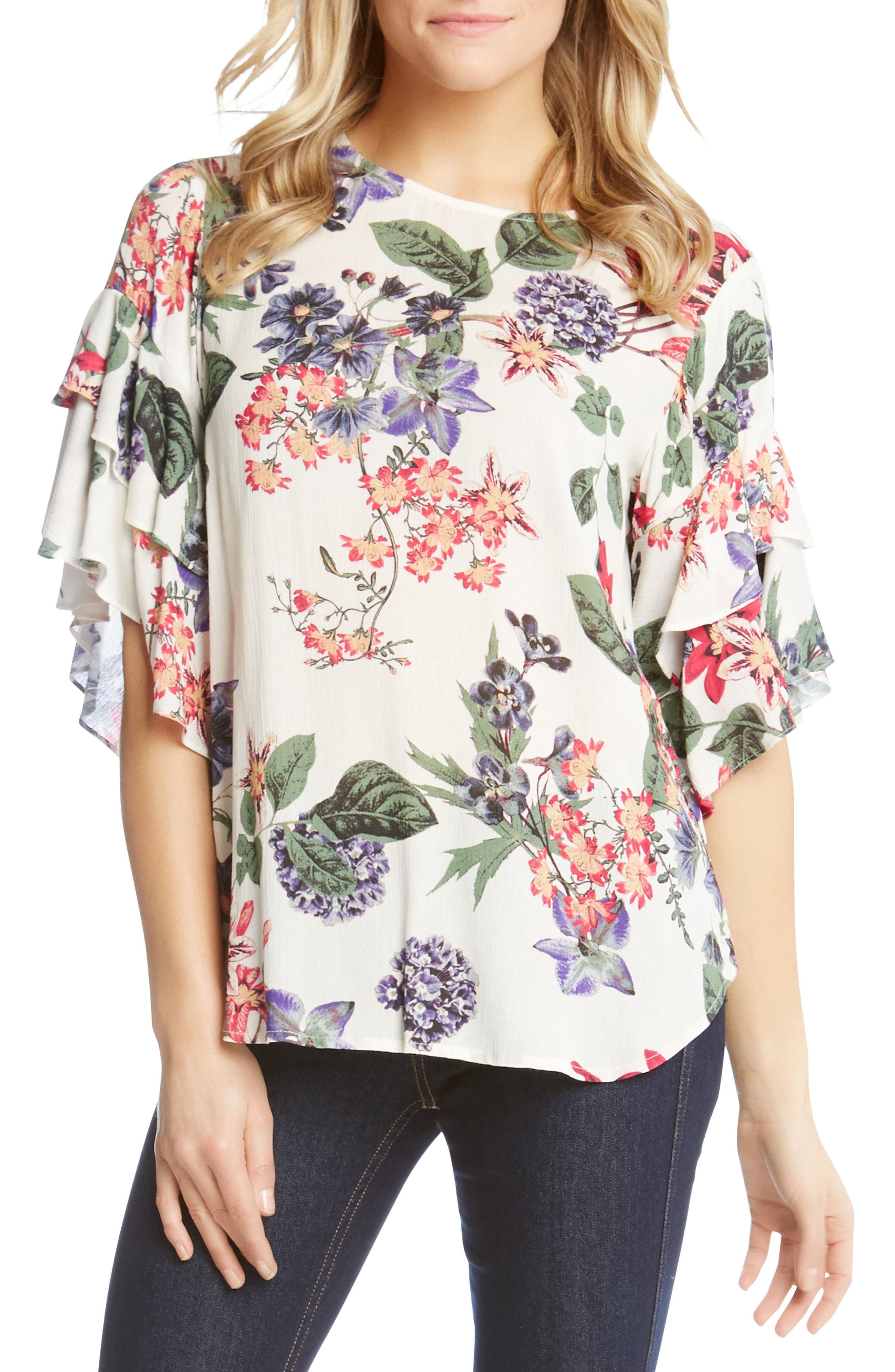 Ruffle Sleeve Floral Top,                             Main thumbnail 1, color,                             160