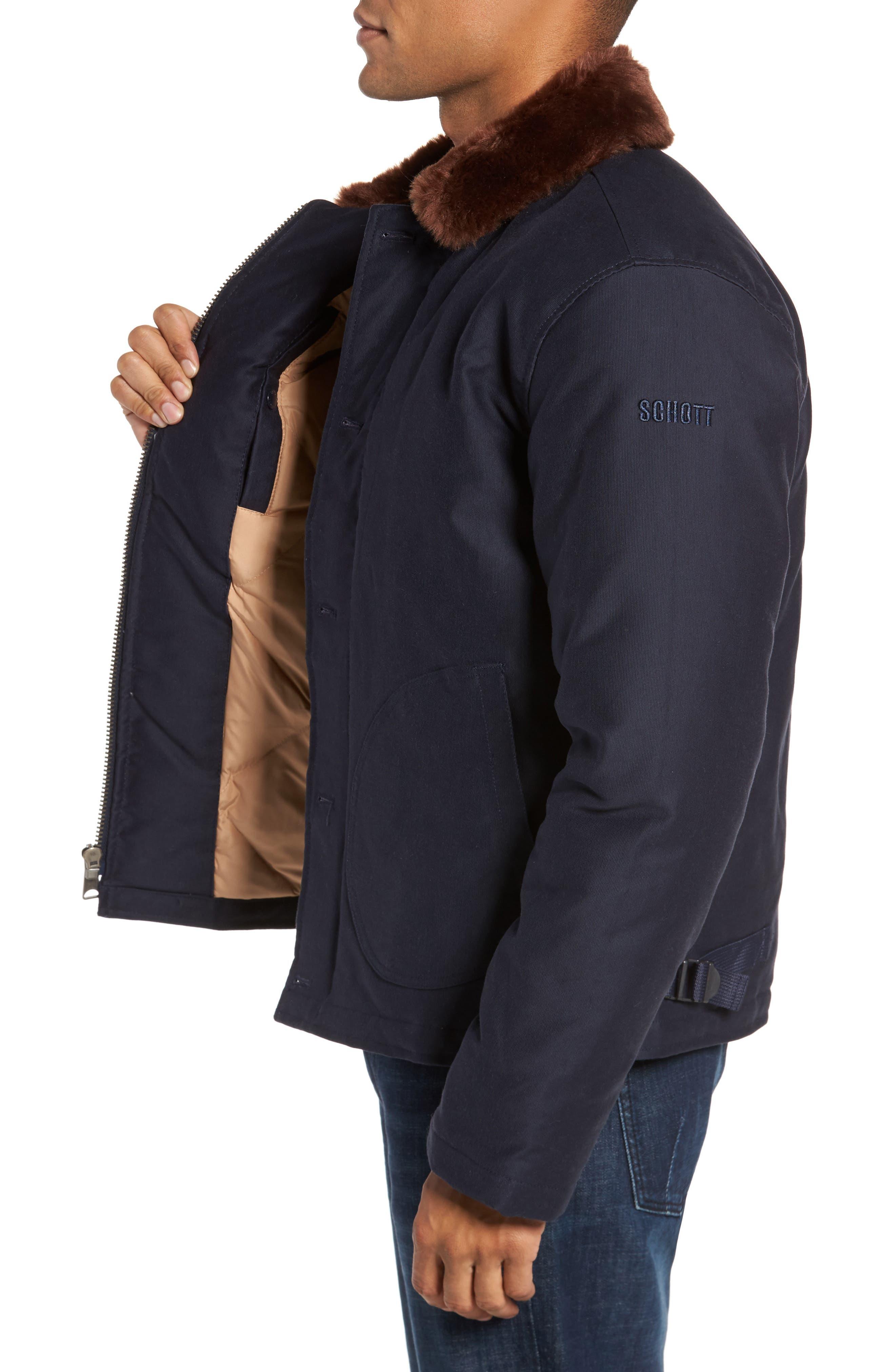 Faux Fur Collar Water-Repellent Corduroy Down Jacket,                             Alternate thumbnail 3, color,                             NAVY