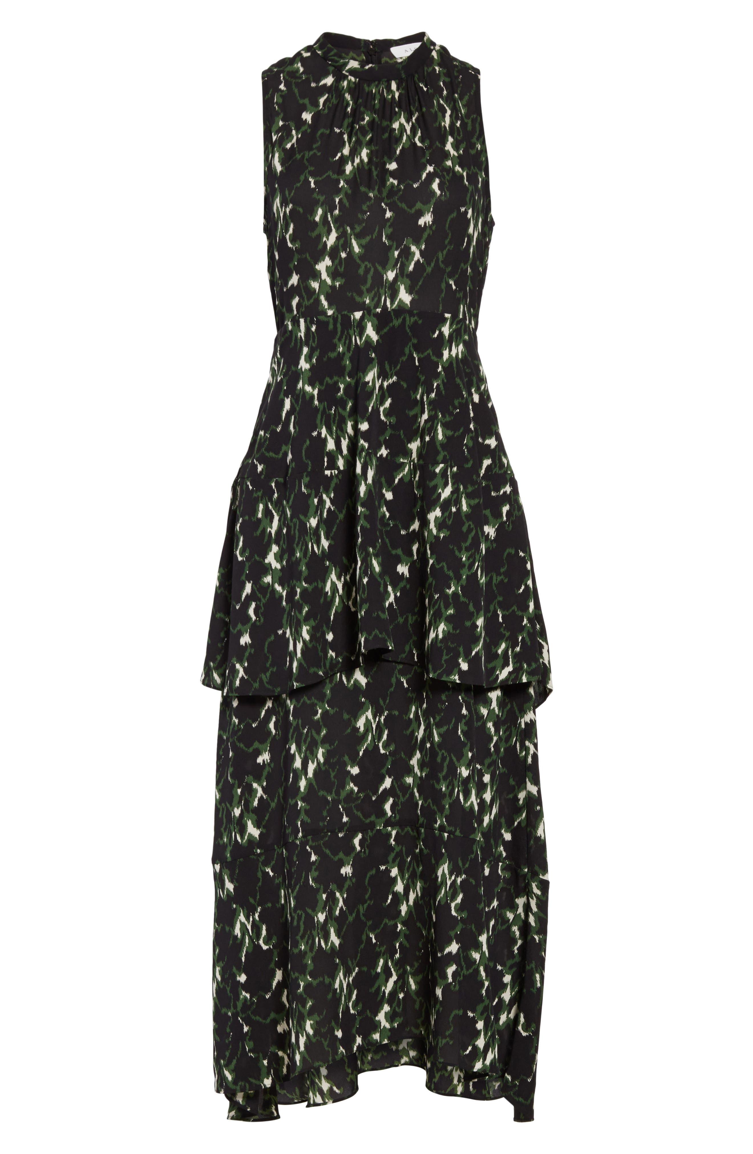 Wylon Print Silk Dress,                             Alternate thumbnail 6, color,                             301