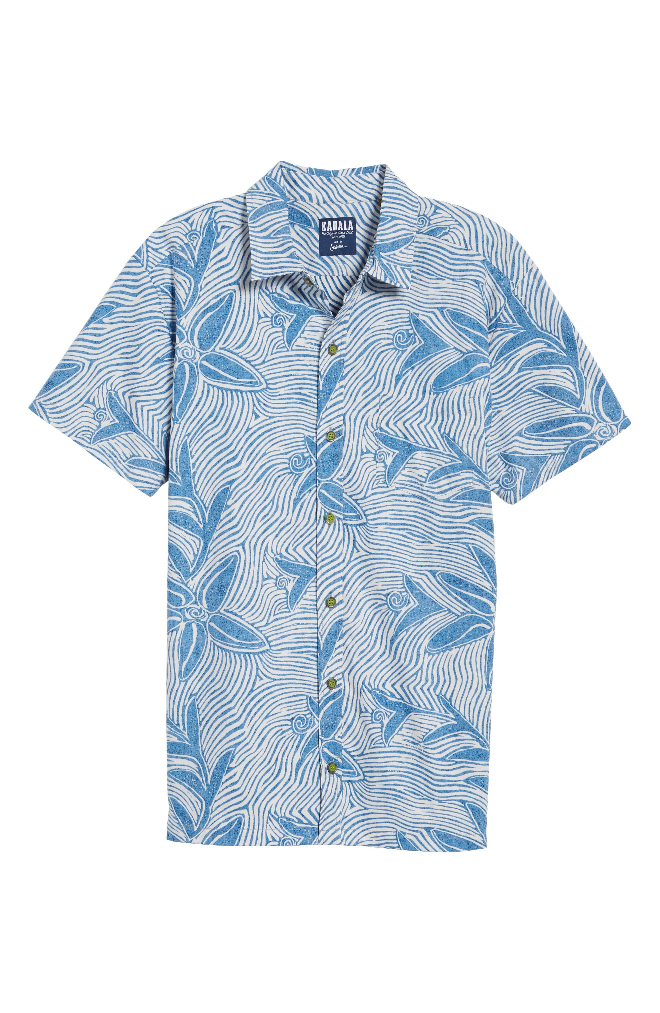 Coral Star Trim Fit Print Sport Shirt,                             Alternate thumbnail 6, color,                             409