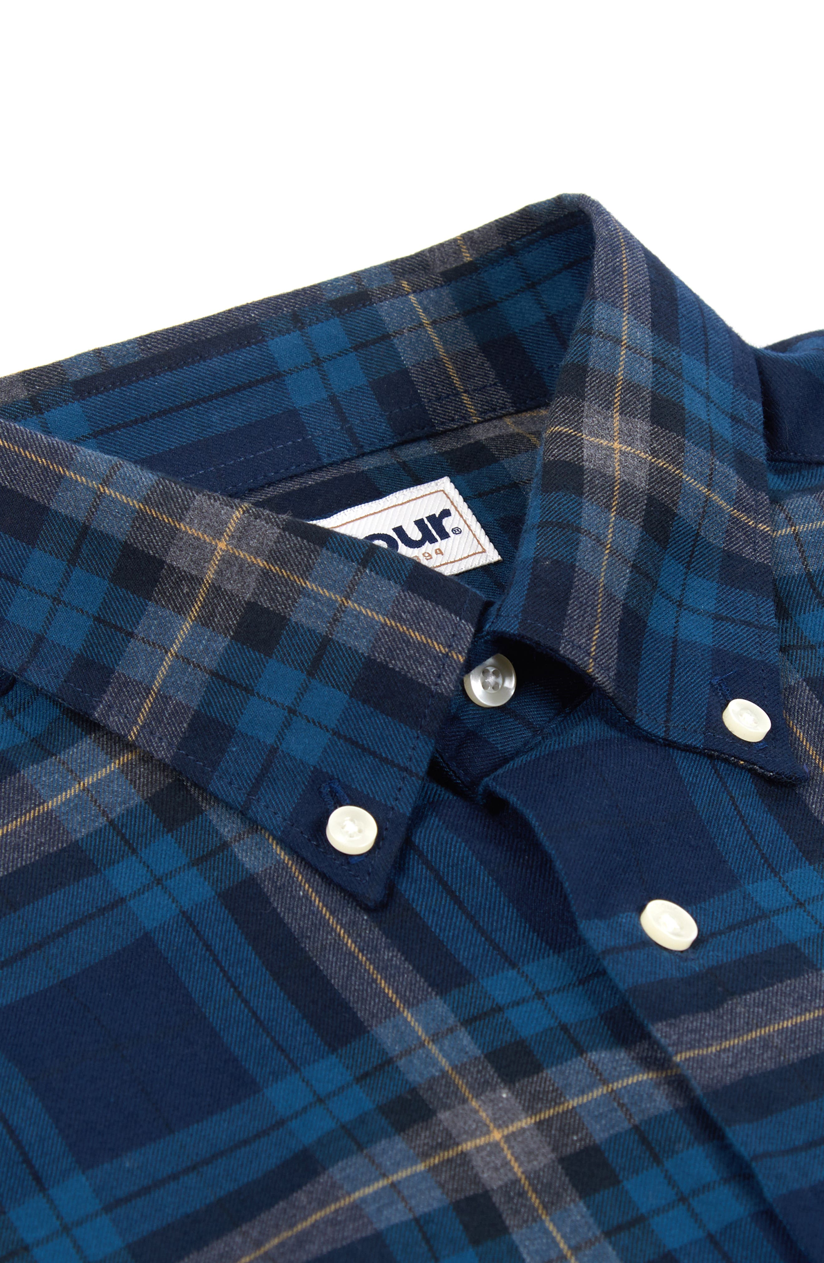 Stapleton Highland Check Sport Shirt,                             Alternate thumbnail 6, color,                             NAVY