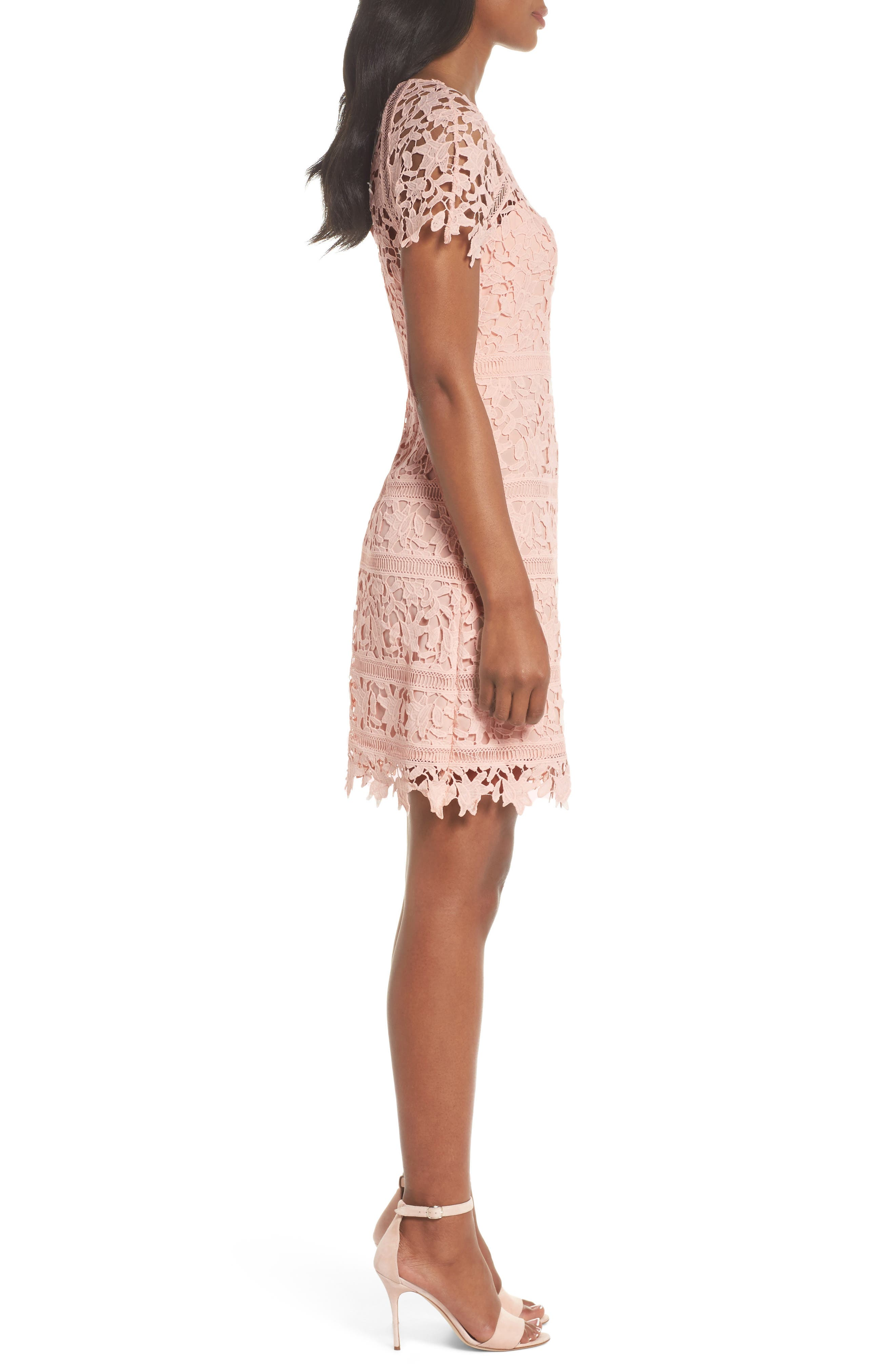 Crochet Overlay Dress,                             Alternate thumbnail 3, color,                             BLUSH