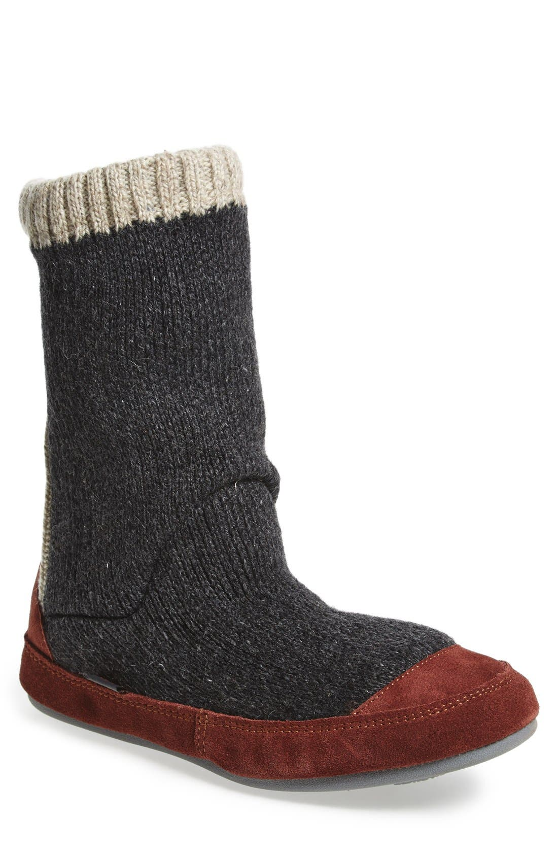 'Slouch Boot' Slipper,                         Main,                         color, CHARCOAL RAGG WOOL