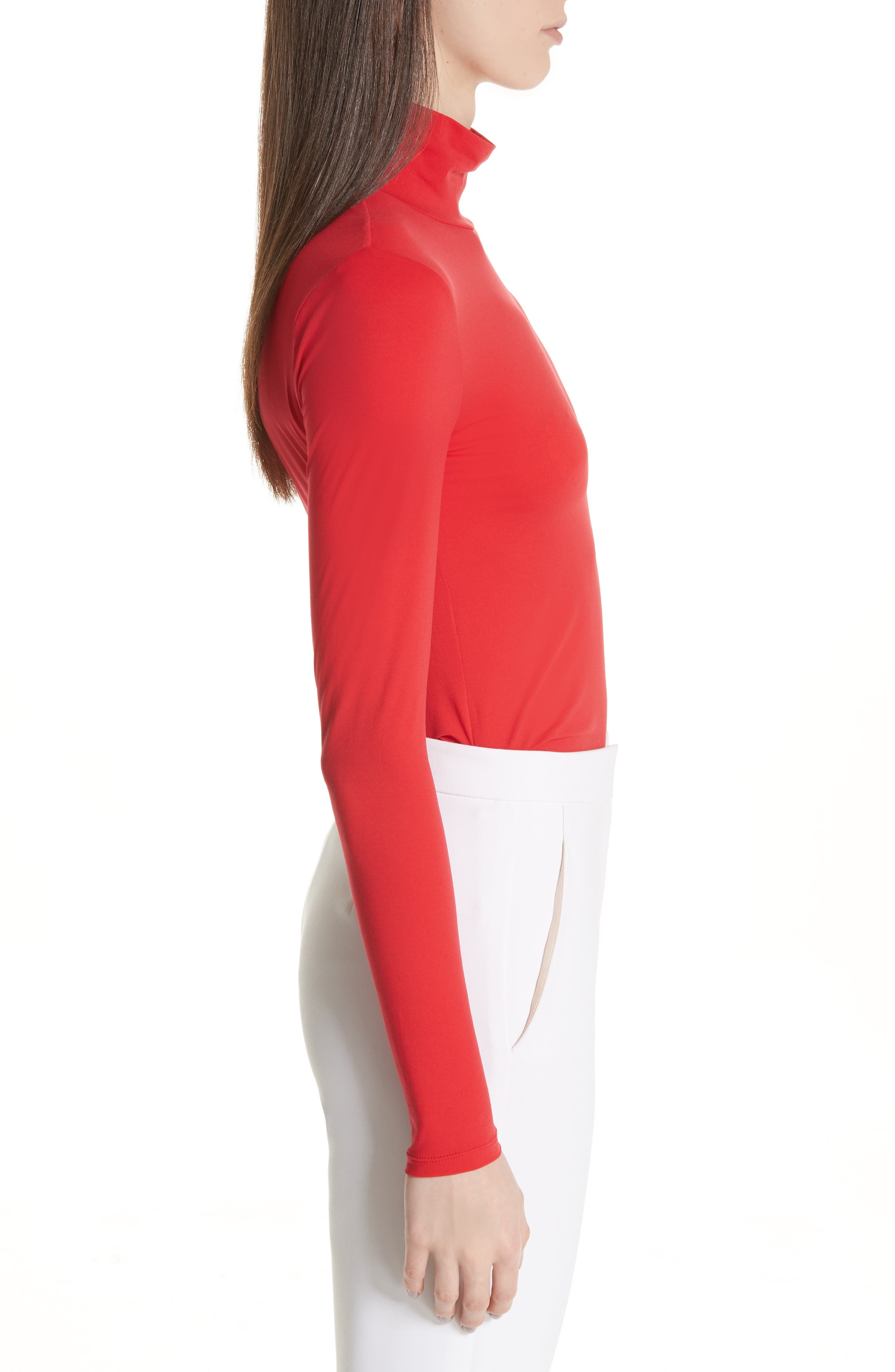 ST. JOHN COLLECTION,                             Nuda Fine Jersey Turtleneck Shell,                             Alternate thumbnail 3, color,                             CRIMSON