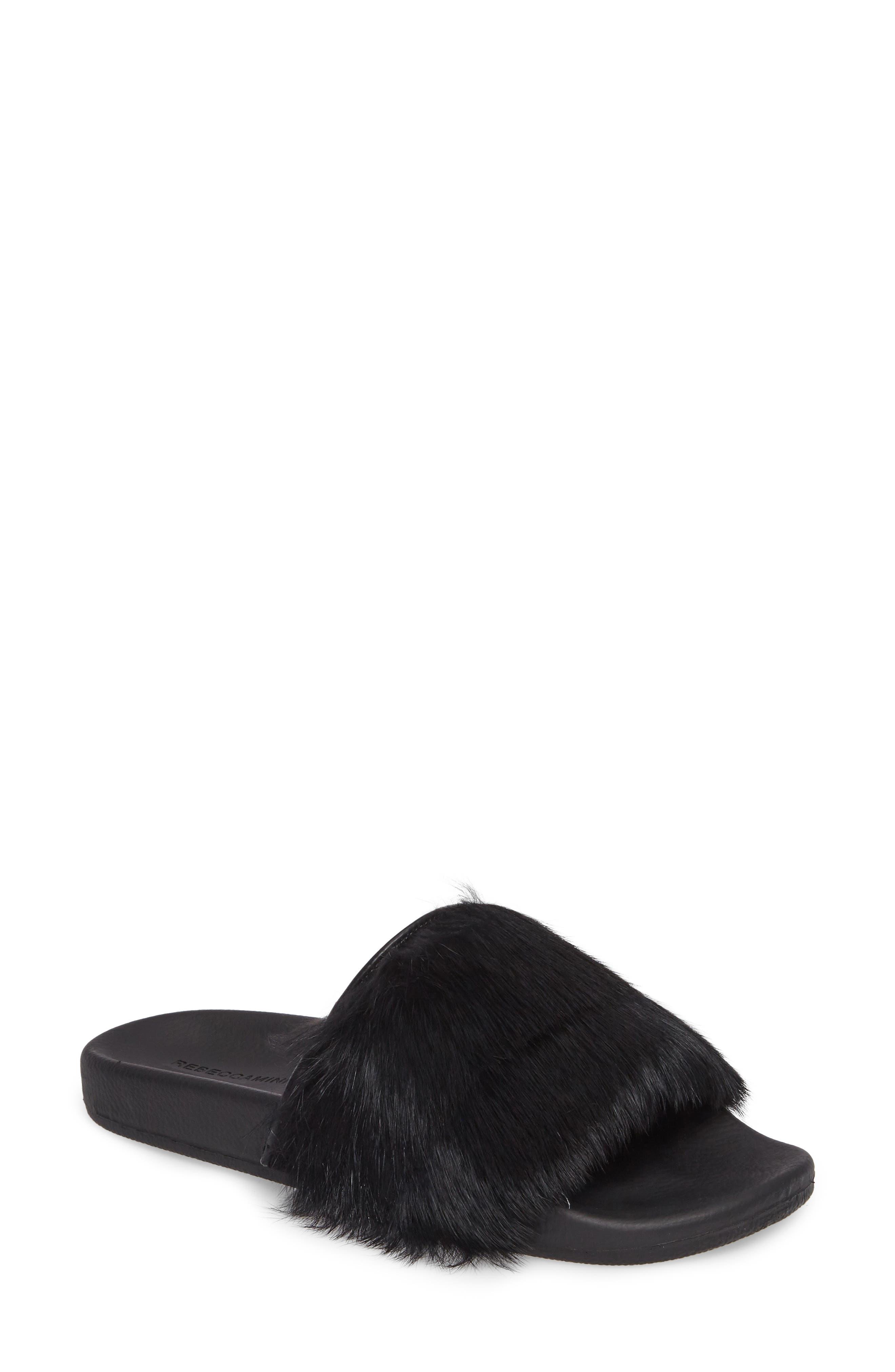 Sammi Genuine Fur Slide Sandal,                             Main thumbnail 1, color,                             001