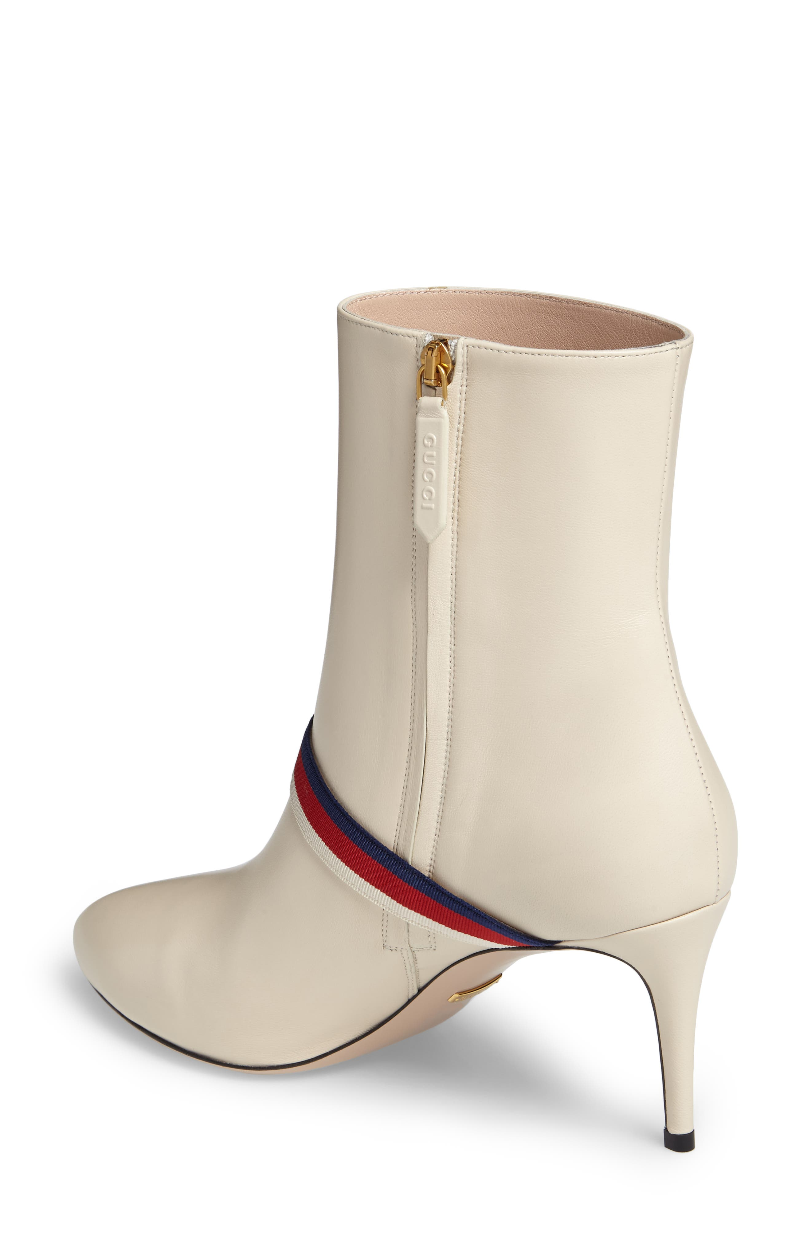 Sylvie Strap Ankle Boot,                             Alternate thumbnail 2, color,                             WHITE LEATHER