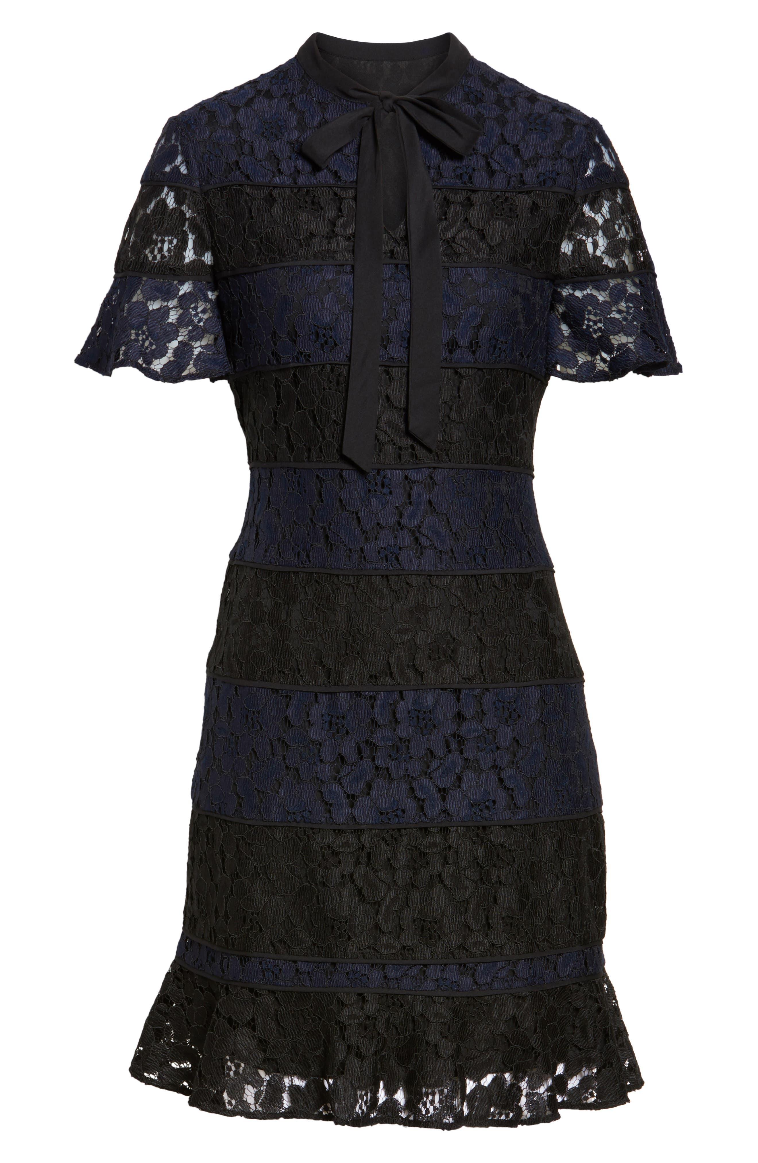 Lace Fit & Flare Dress,                             Alternate thumbnail 6, color,                             010