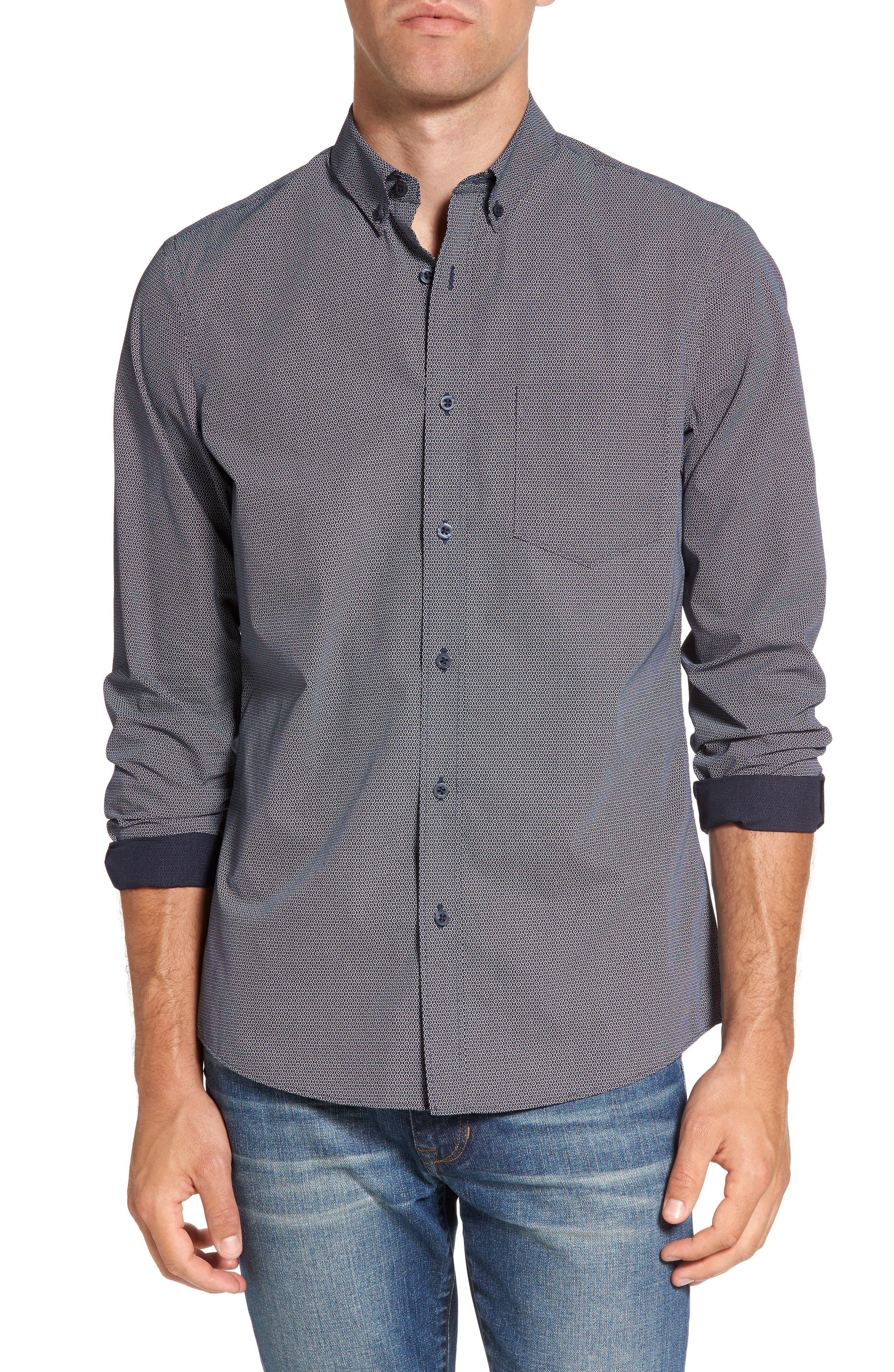 Slim Fit Non-Iron Dot Print Sport Shirt,                         Main,                         color, 410