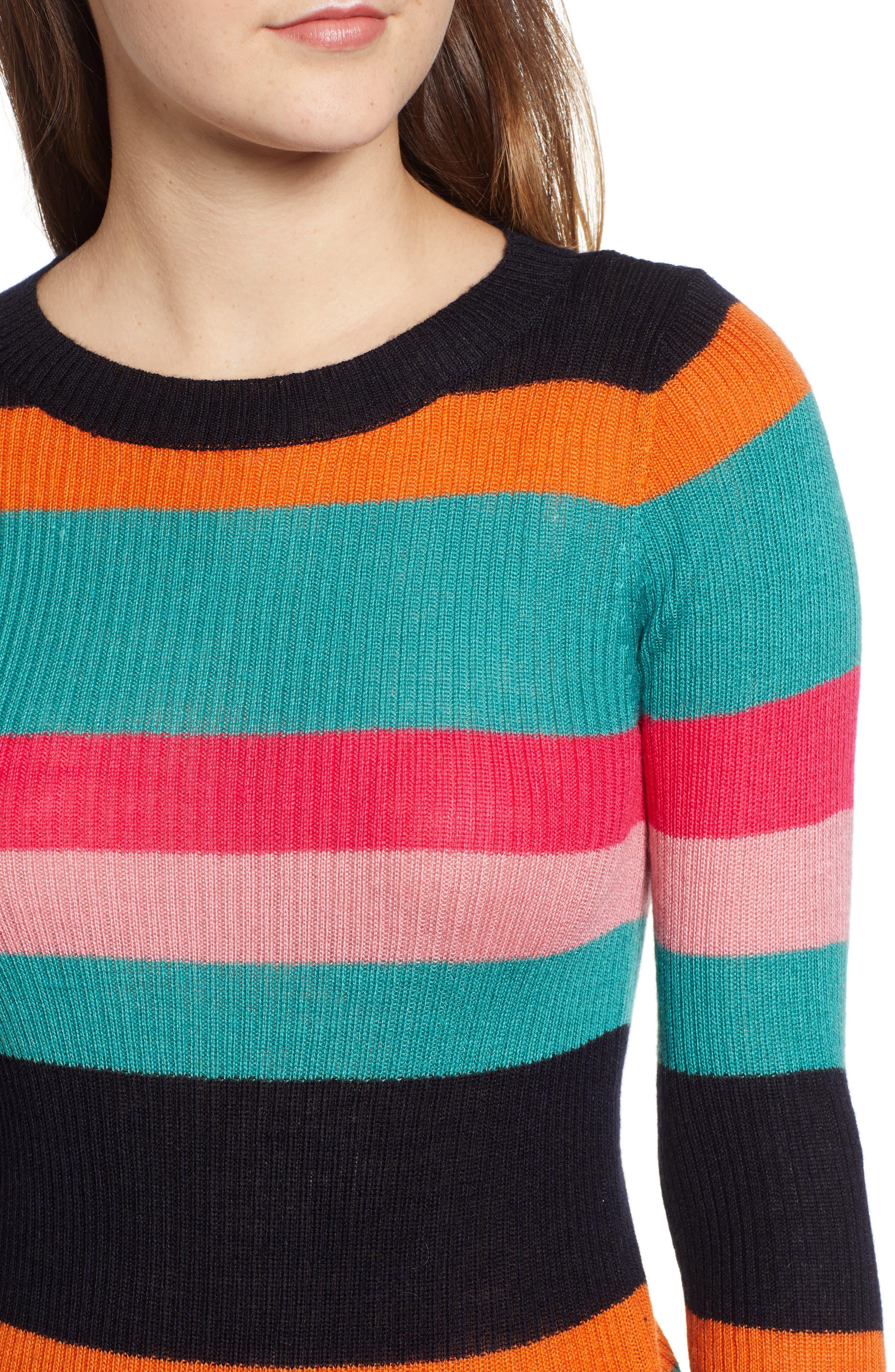 Rainbow Skivvy Stripe Sweater,                             Alternate thumbnail 4, color,                             300