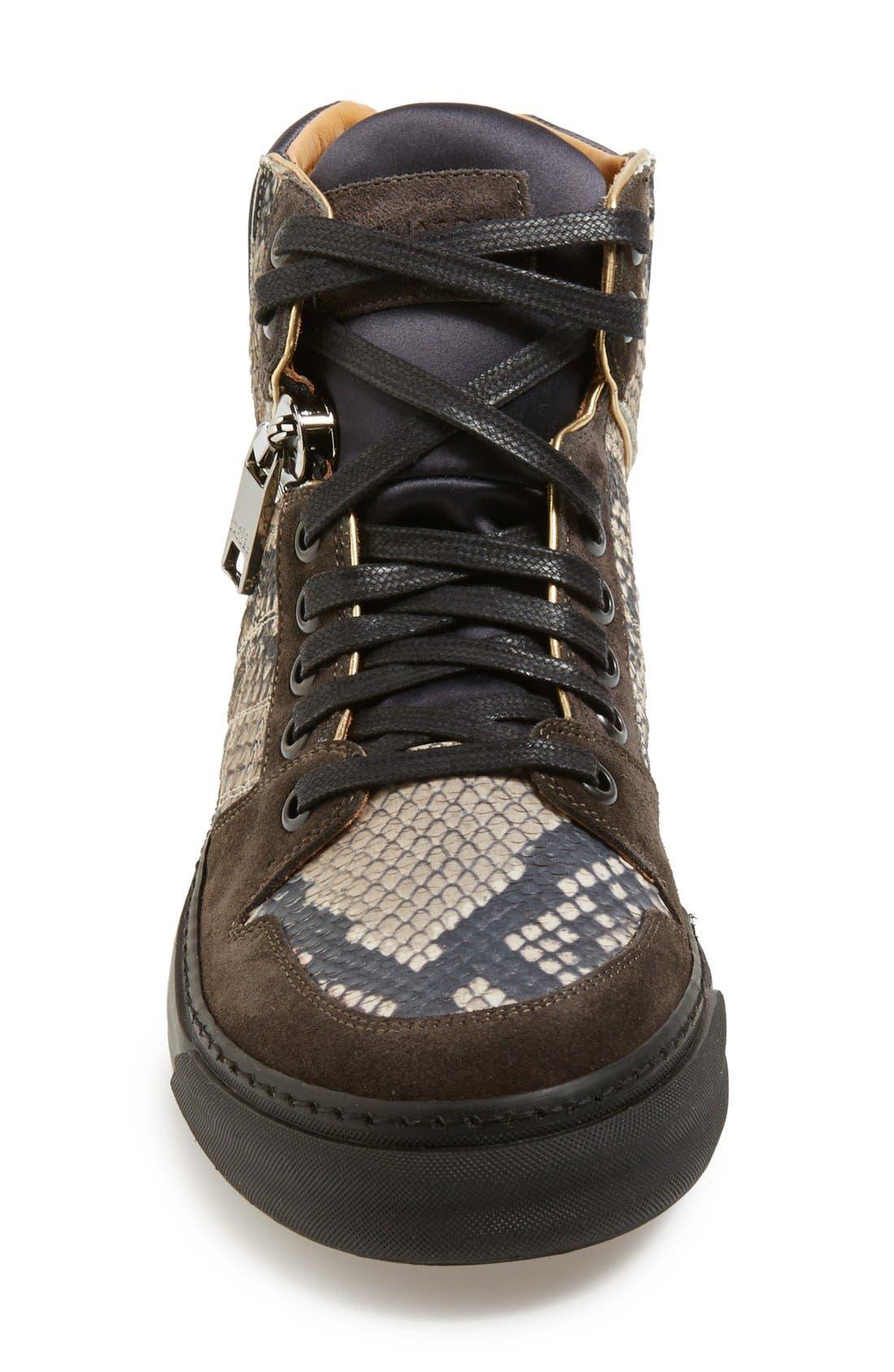 'Atomic Zip' Snake Print High Top Sneaker,                             Alternate thumbnail 2, color,                             001