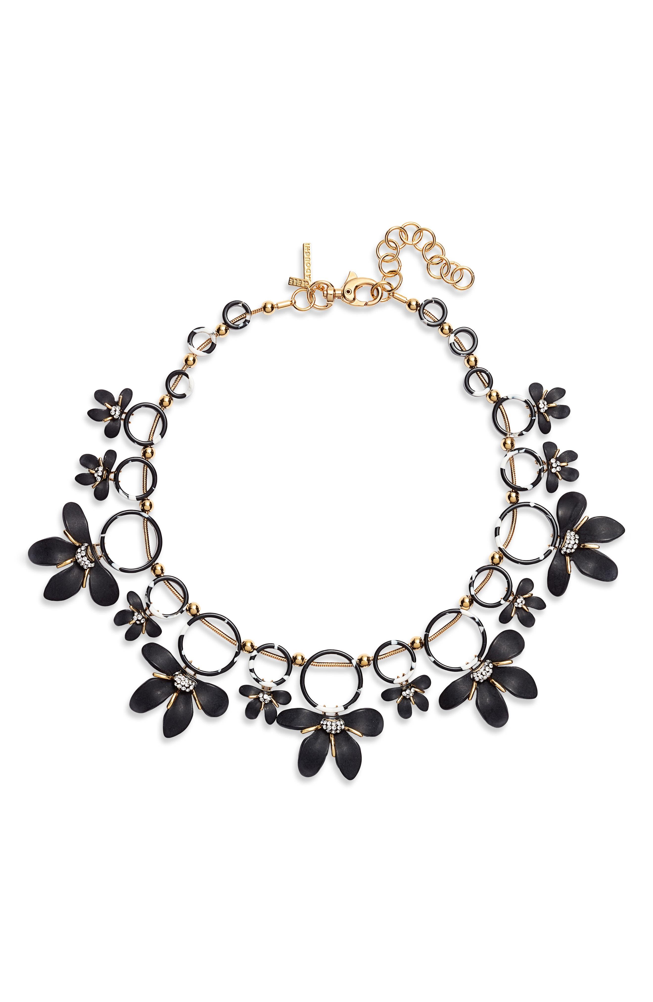 LELE SADOUGHI,                             Crystal Lily Collar Necklace,                             Main thumbnail 1, color,                             JET