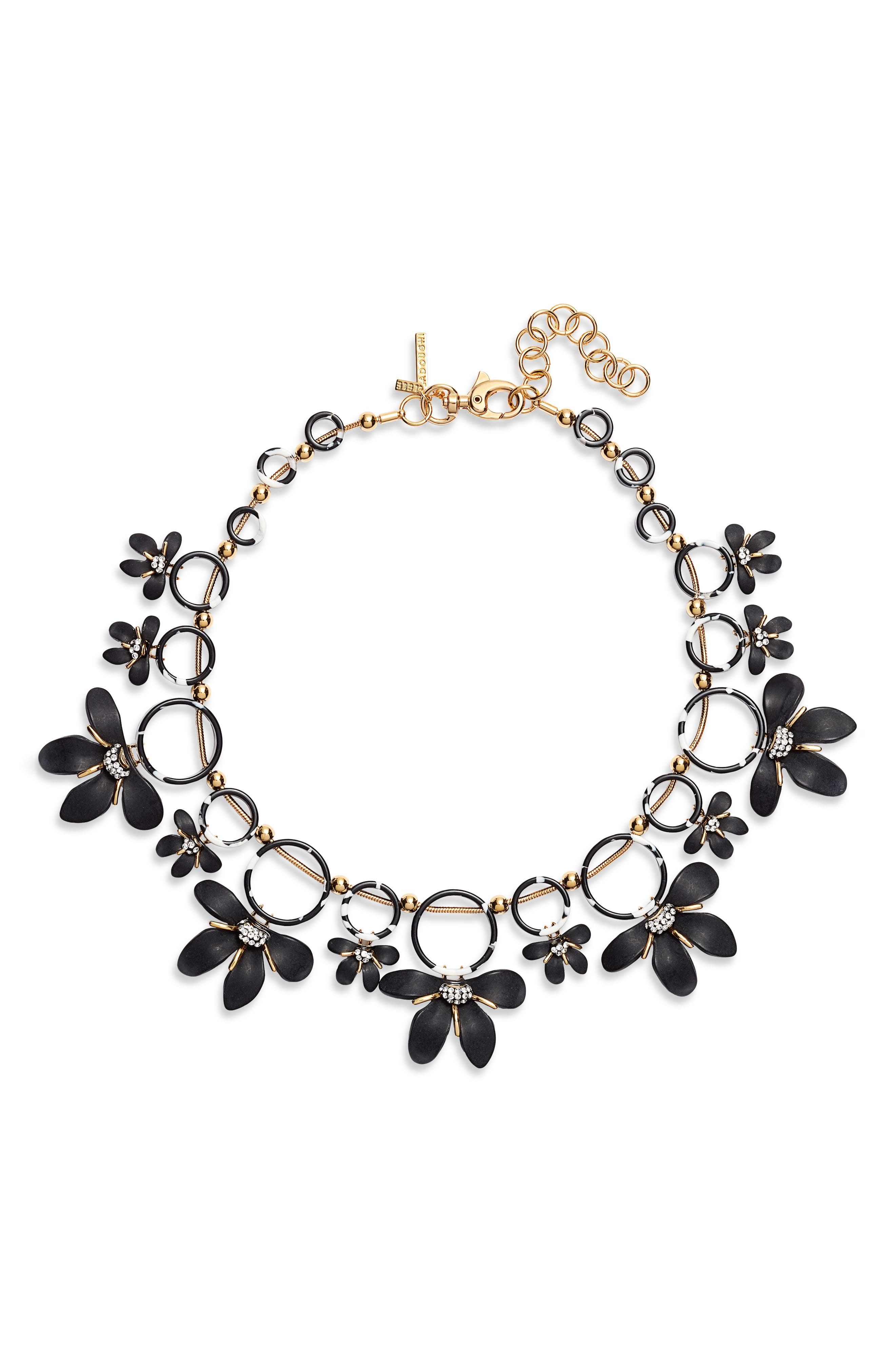 LELE SADOUGHI Crystal Lily Collar Necklace, Main, color, JET