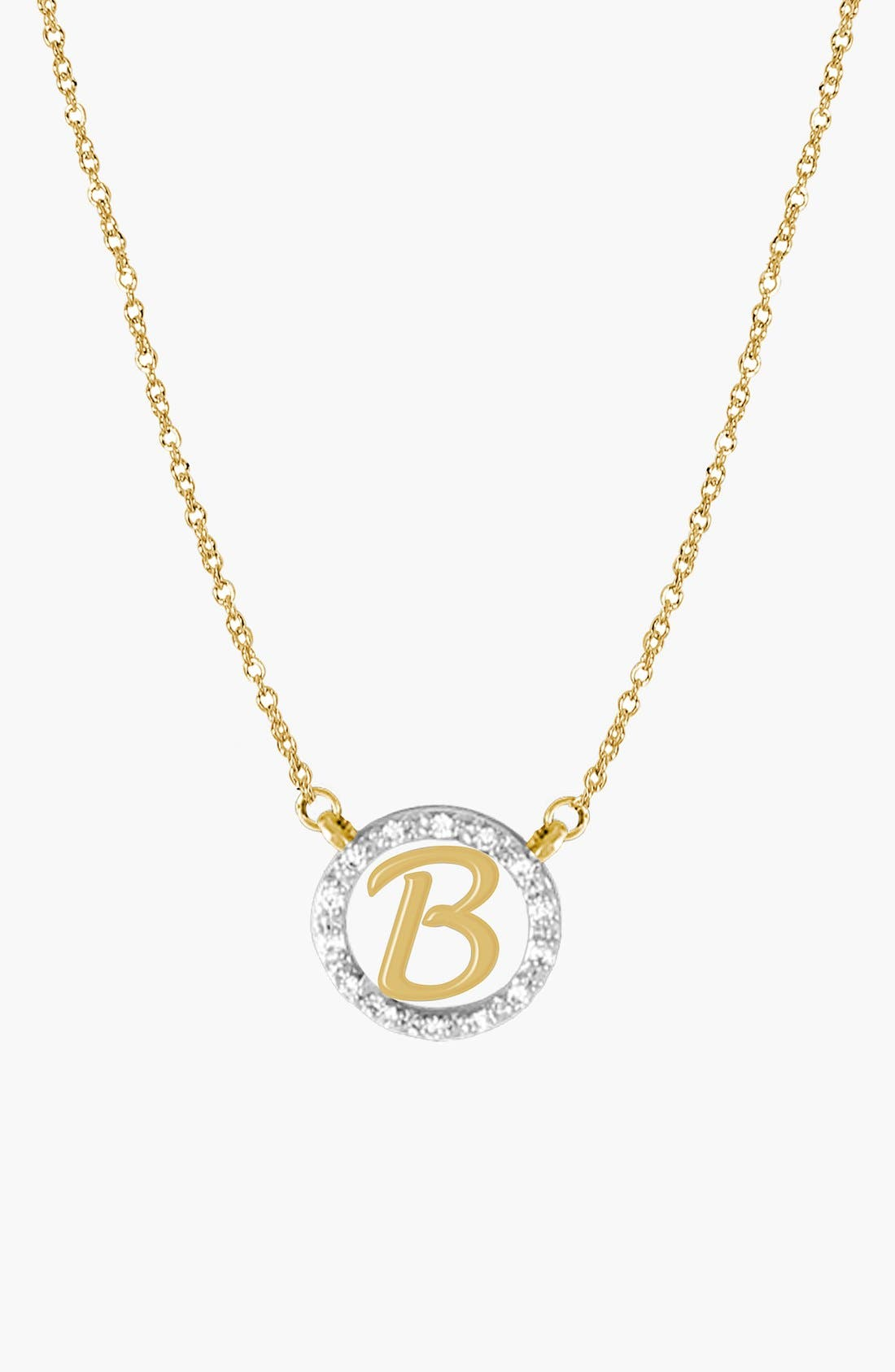 Diamond Pavé Initial Pendant Necklace,                             Main thumbnail 1, color,                             YELLOW GOLD - B