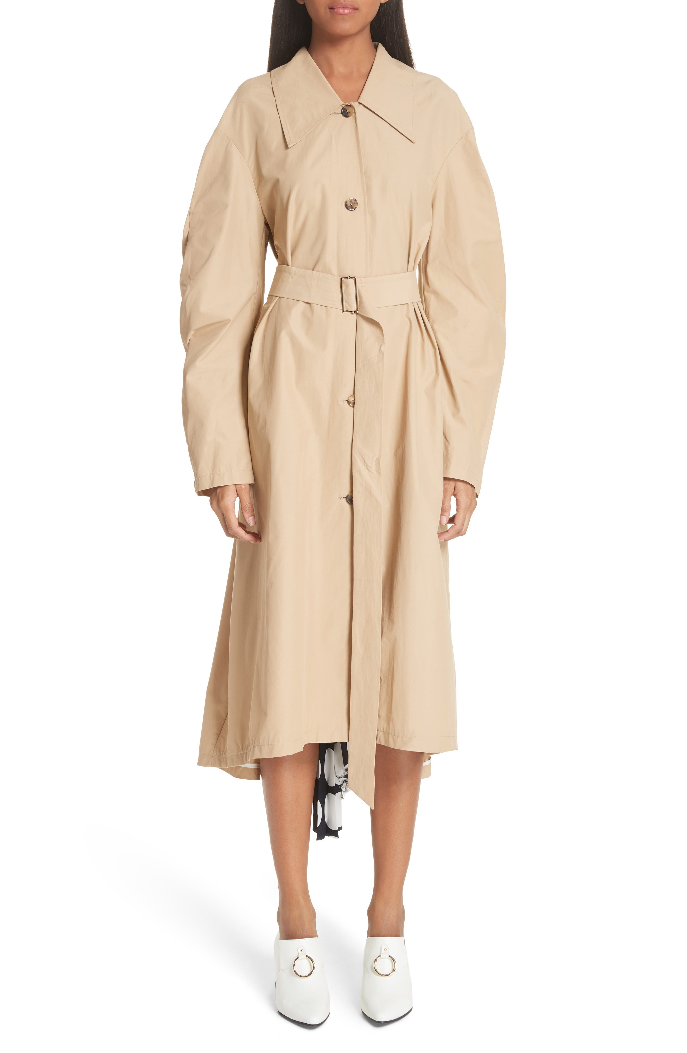 Round Sleeve Coat with Polka Dot Back Panel,                         Main,                         color,