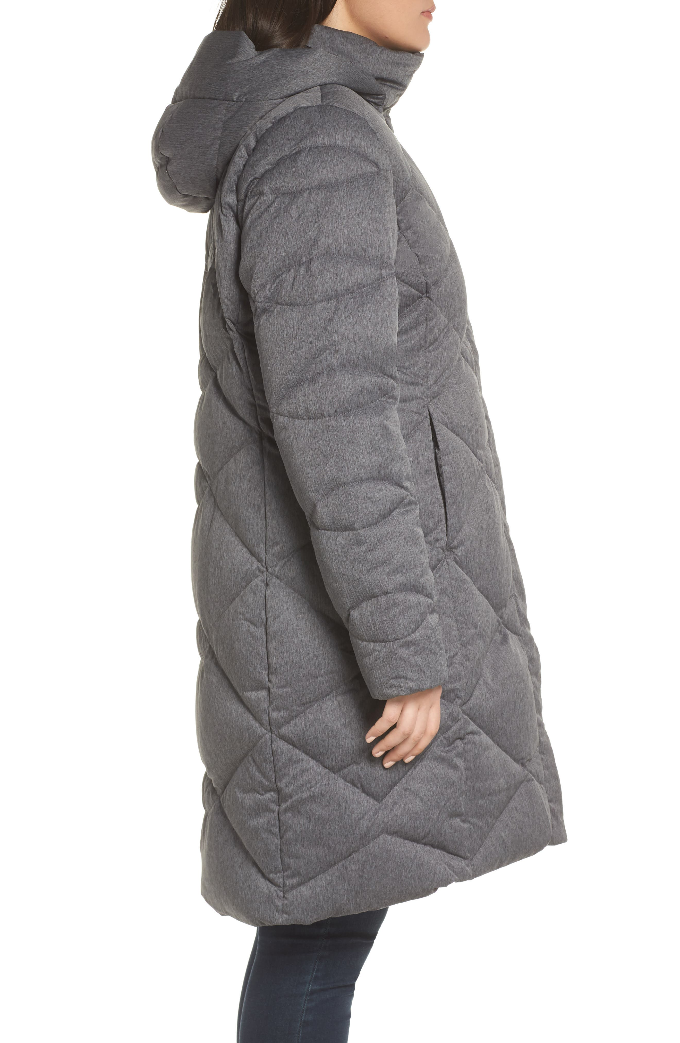Miss Metro II Water Repellent 550 Fill Power Down Hooded Parka,                             Alternate thumbnail 10, color,                             TNF DARK GREY HEATHER