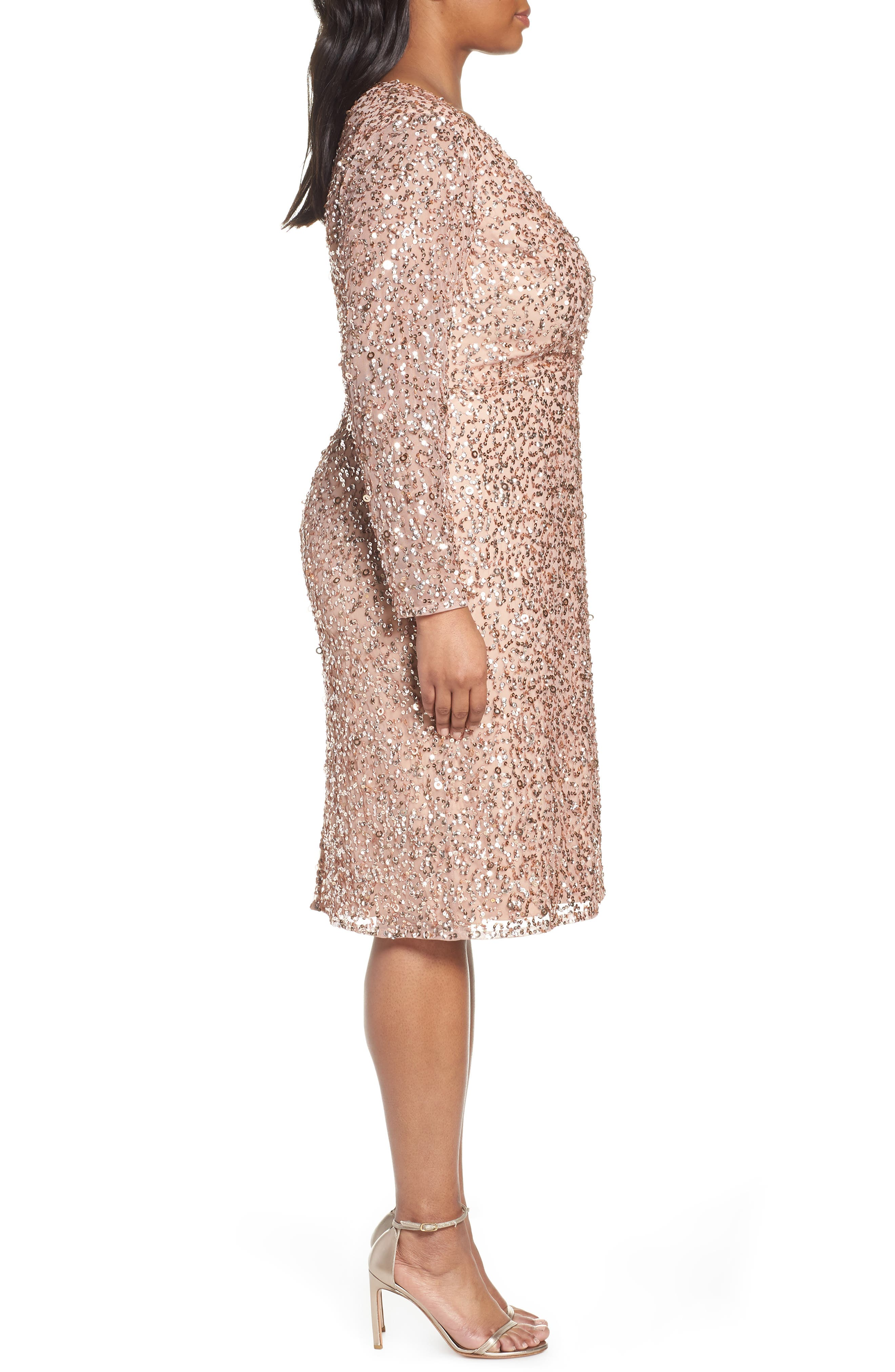 ADRIANNA PAPELL,                             Beaded Mesh Cocktail Dress,                             Alternate thumbnail 4, color,                             ROSE GOLD