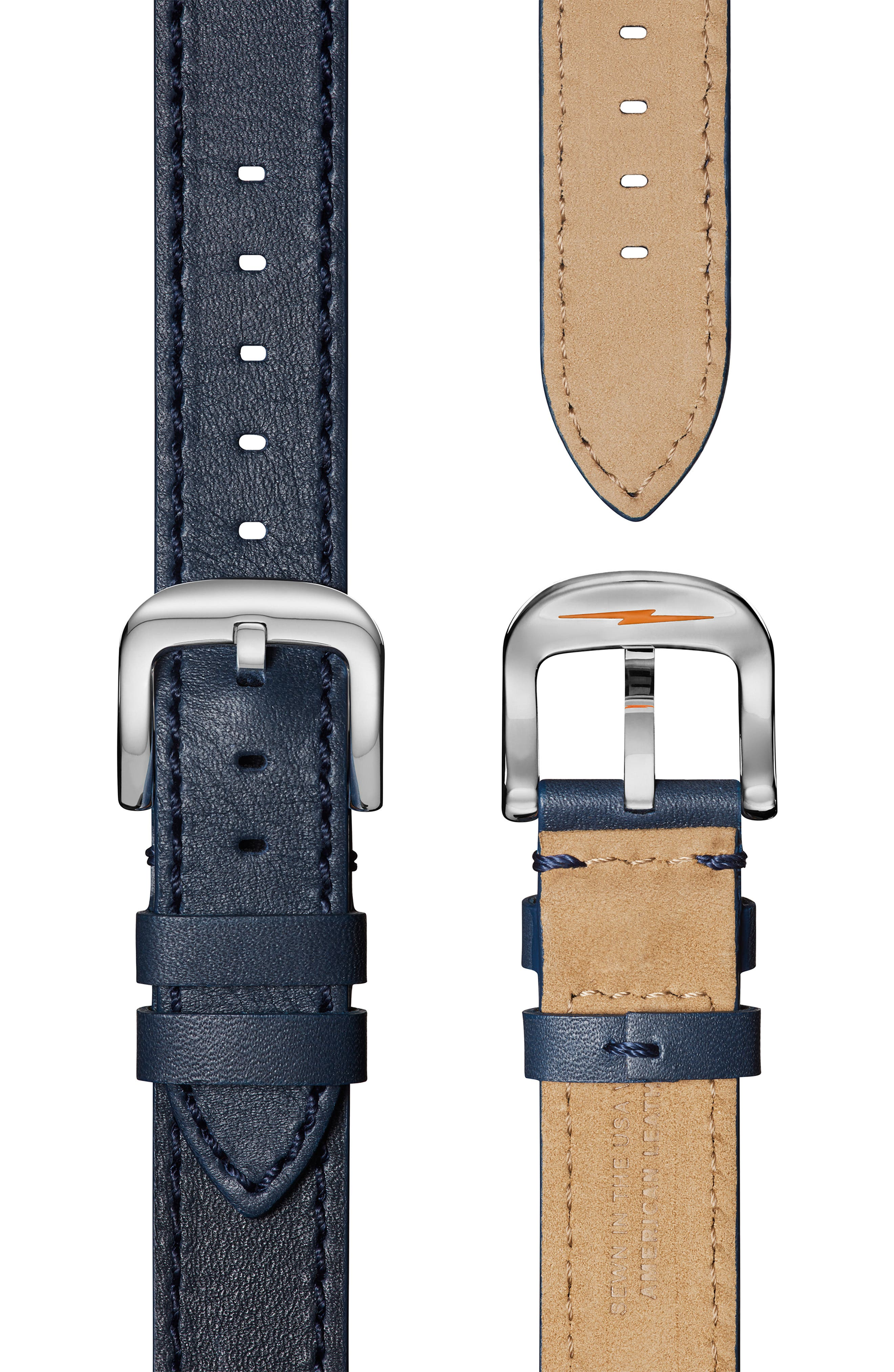 The Runwell Leather Strap Watch, 36mm,                             Alternate thumbnail 4, color,                             OCEAN/ BLUE MOP/ SILVER