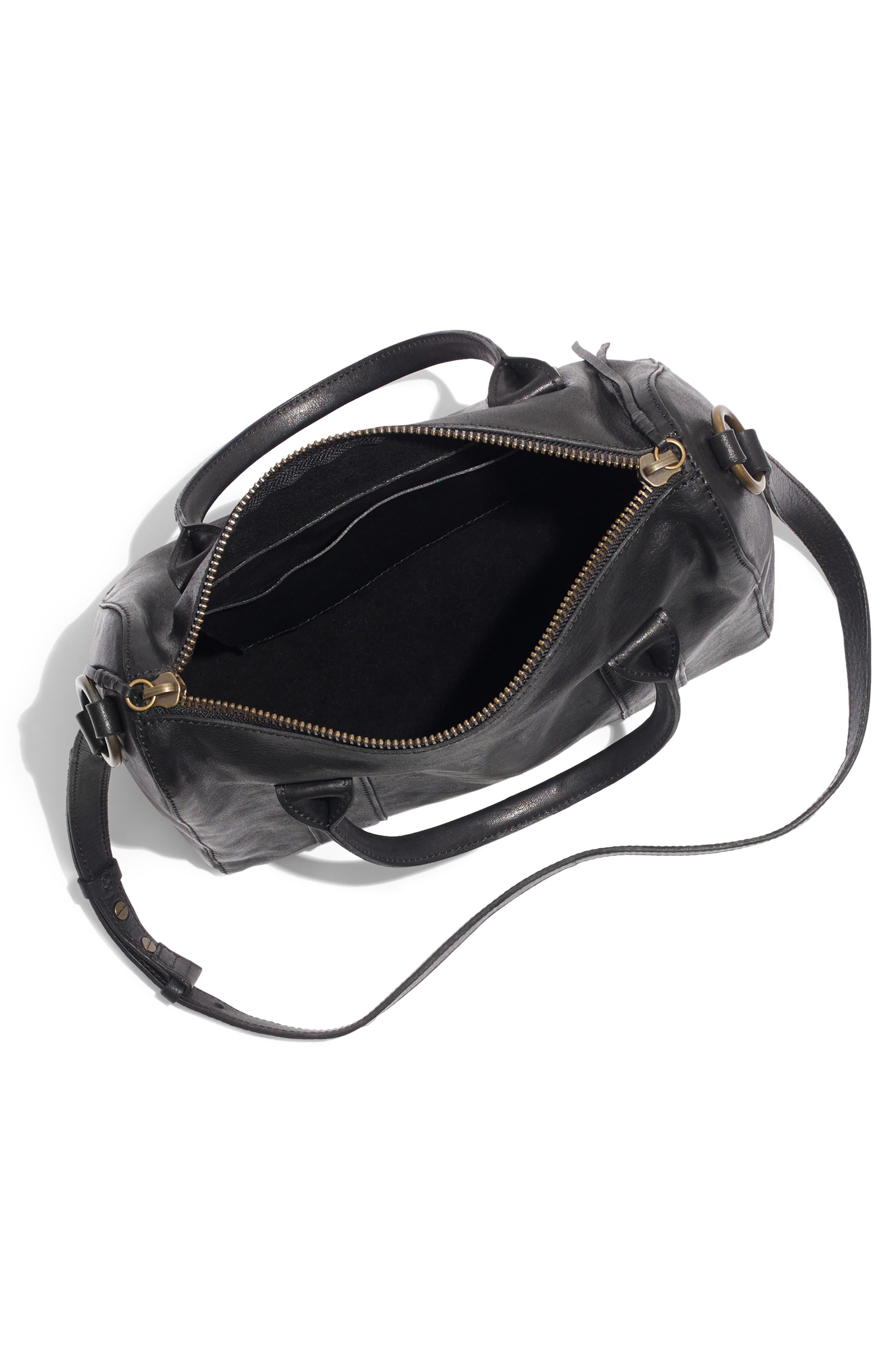 O-Ring Leather Satchel,                             Alternate thumbnail 4, color,                             TRUE BLACK