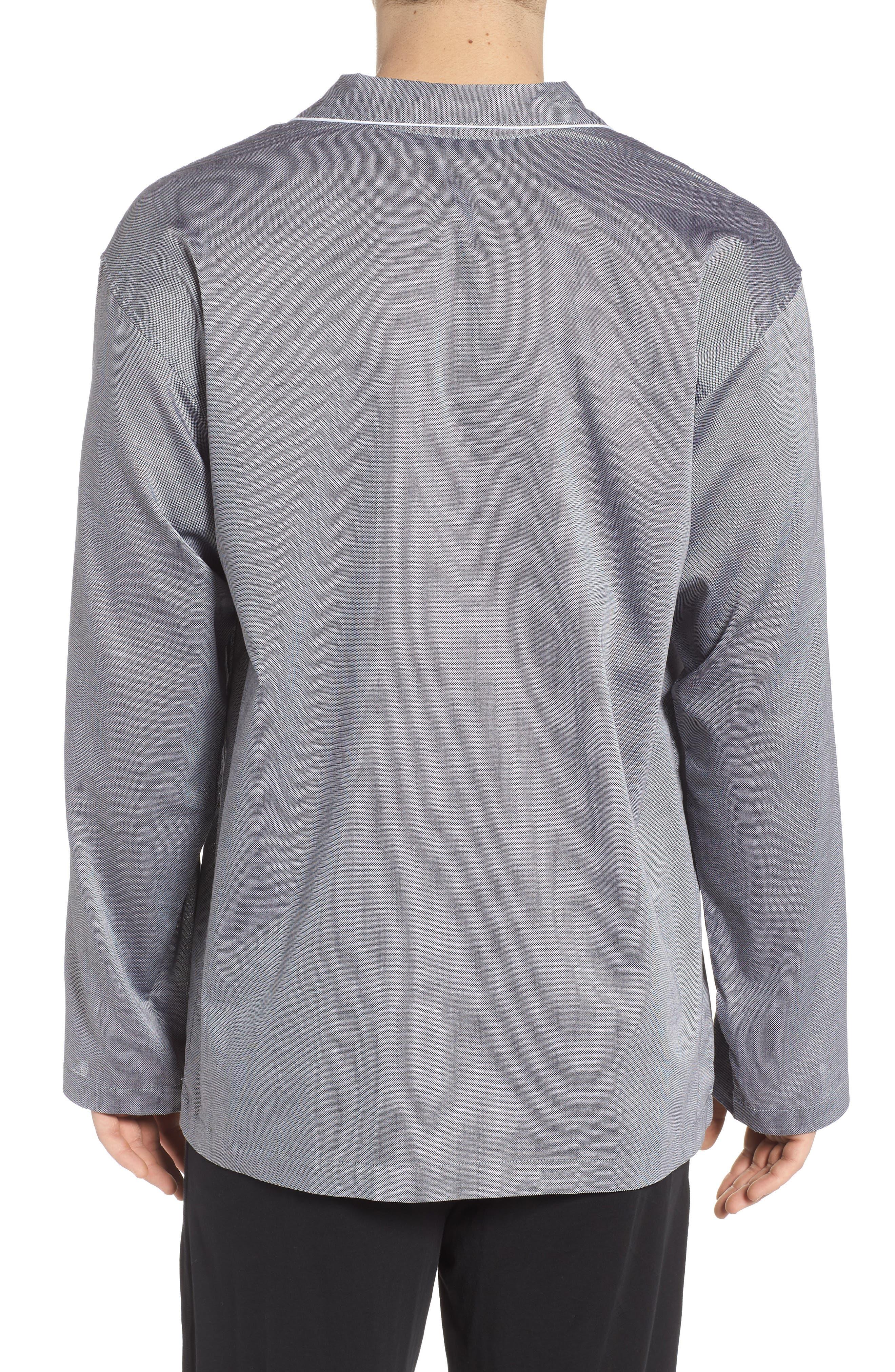 Pajama Top,                             Alternate thumbnail 3, color,                             BLACK ROYAL OXFORD