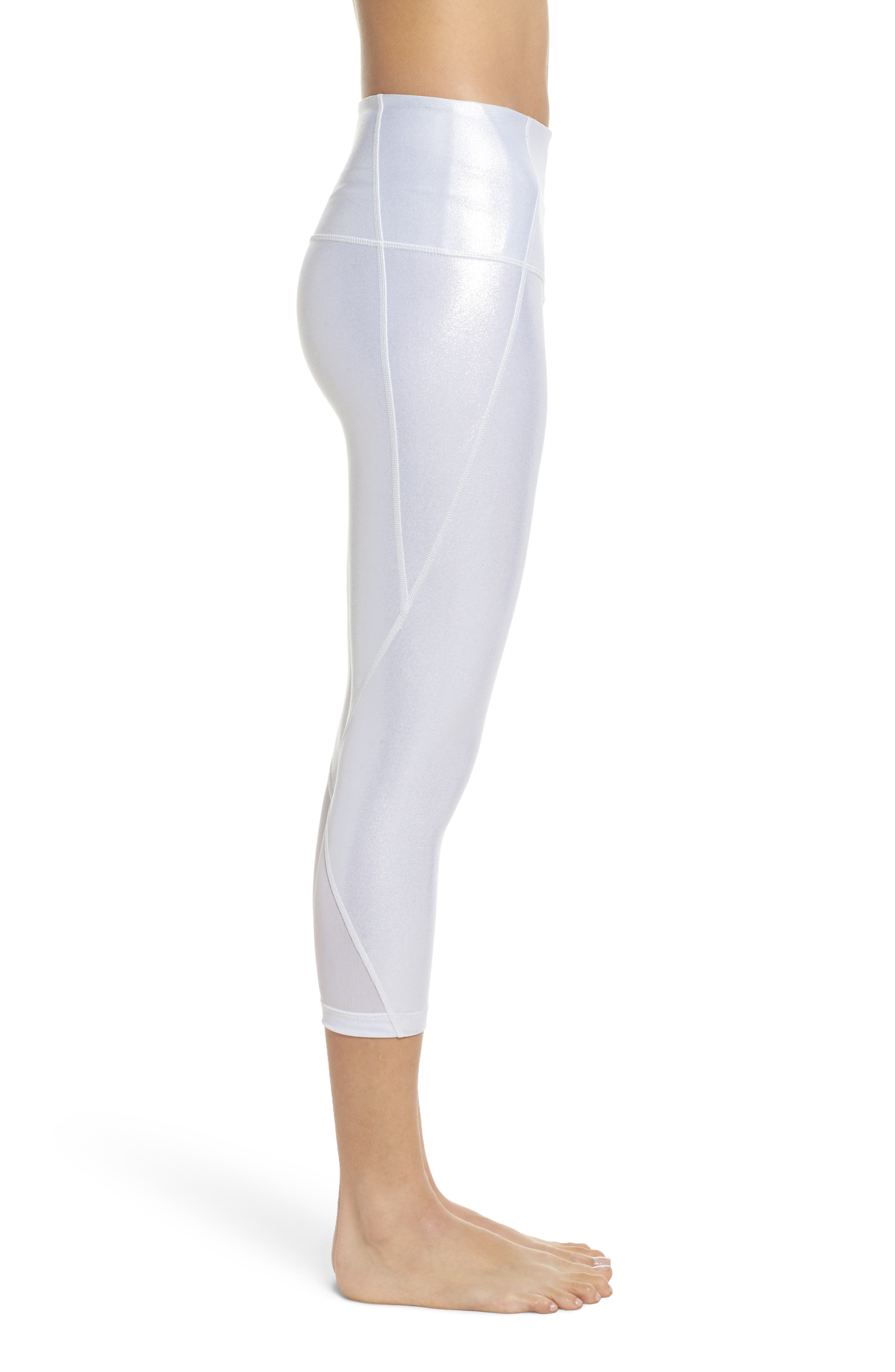 Hatha Glitter High Waist Crop Leggings,                             Alternate thumbnail 3, color,                             040