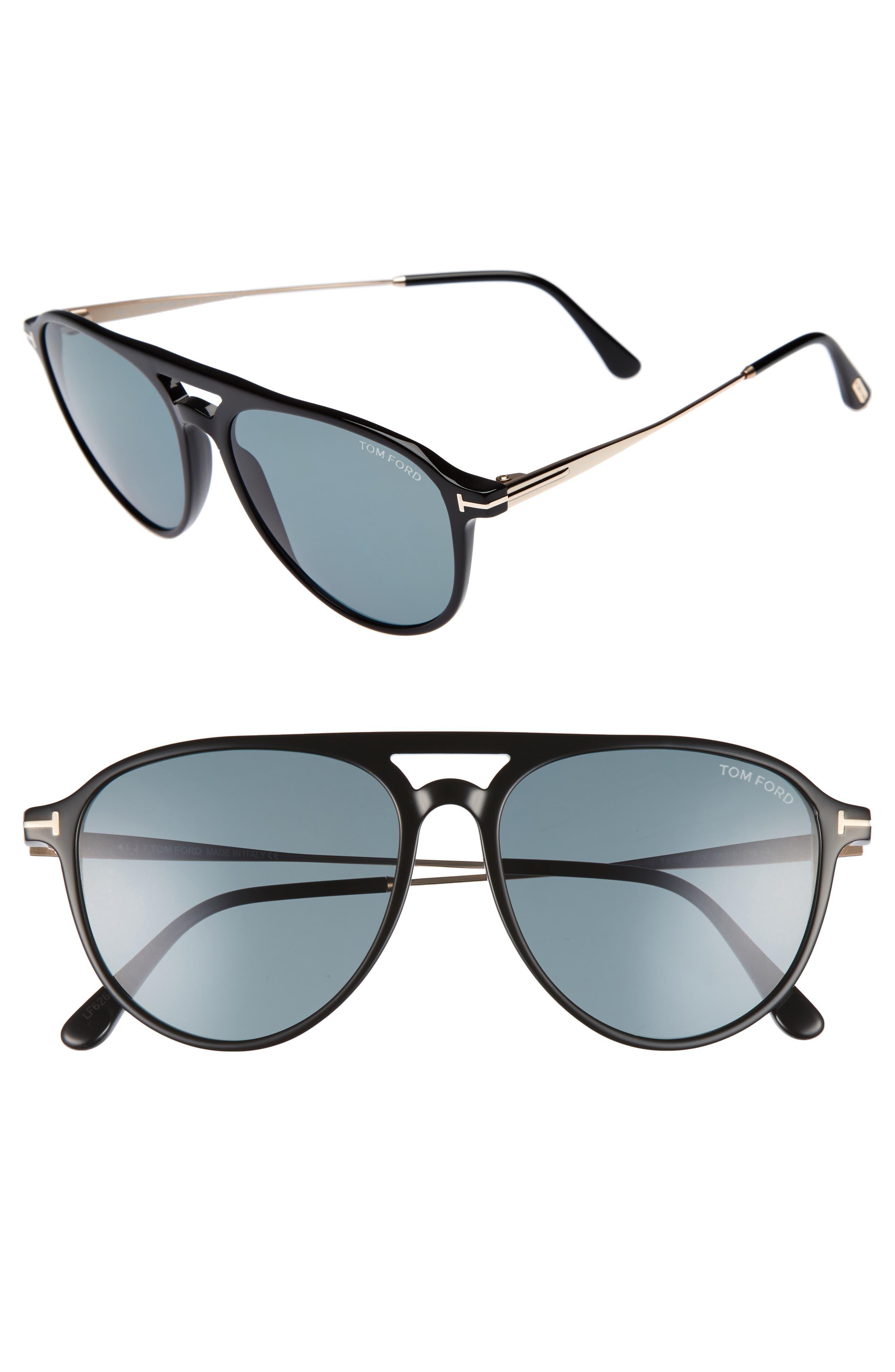 Carlo 59mm Aviator Sunglasses,                         Main,                         color, 001