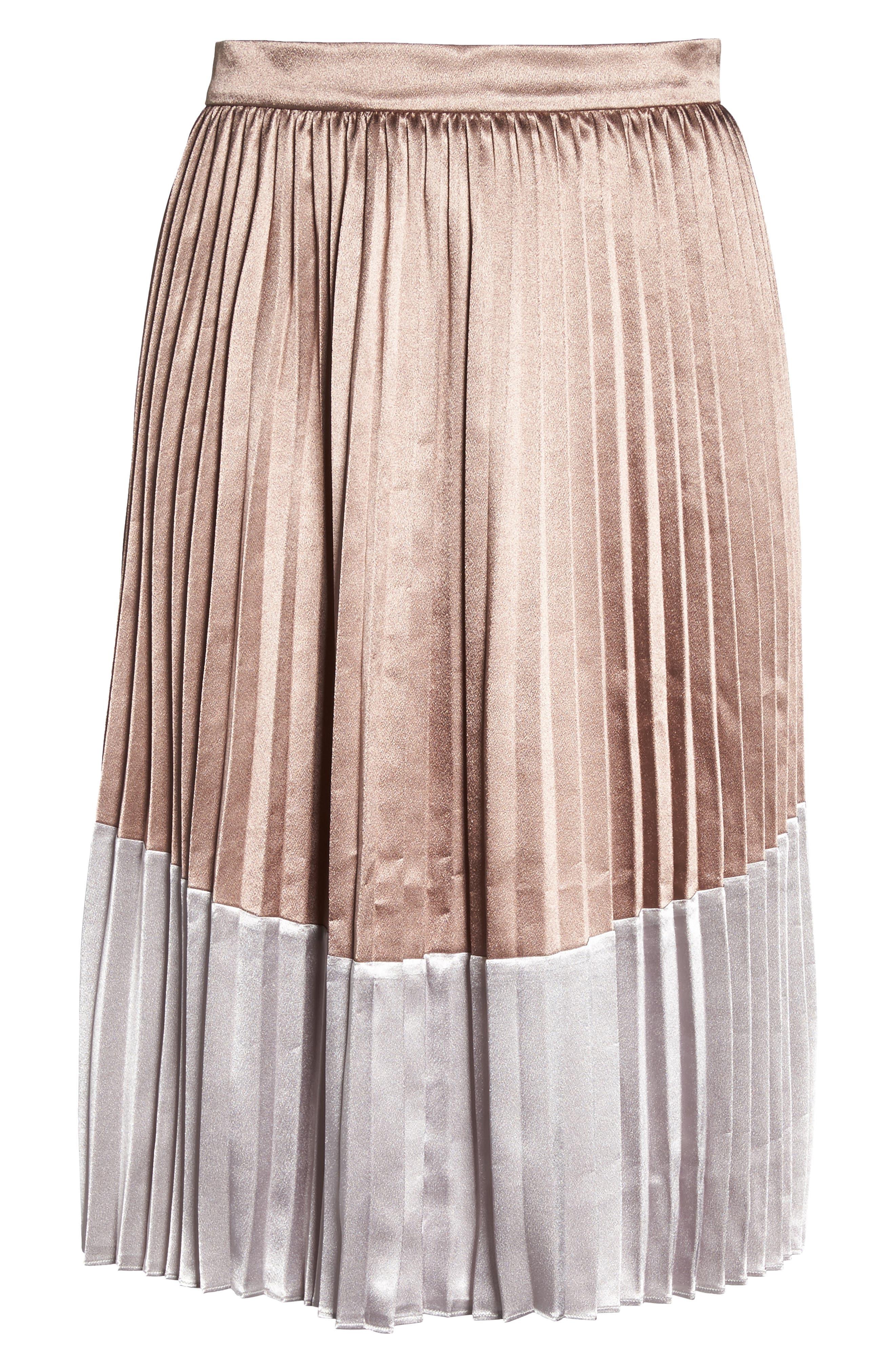 Pleat Metallic Skirt,                             Alternate thumbnail 6, color,                             650