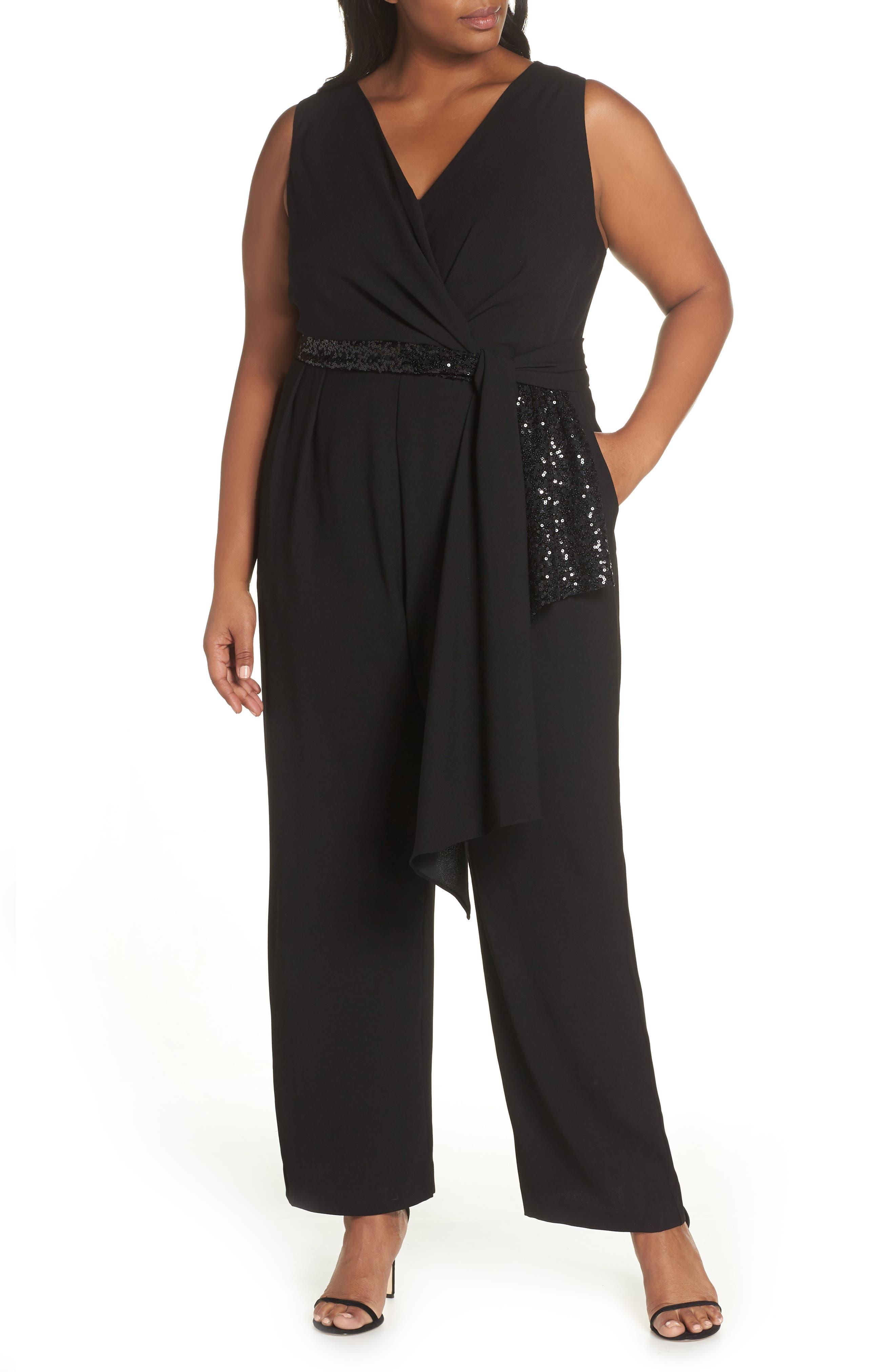 Cascading Sequin Tie Jumpsuit,                         Main,                         color, BLACK