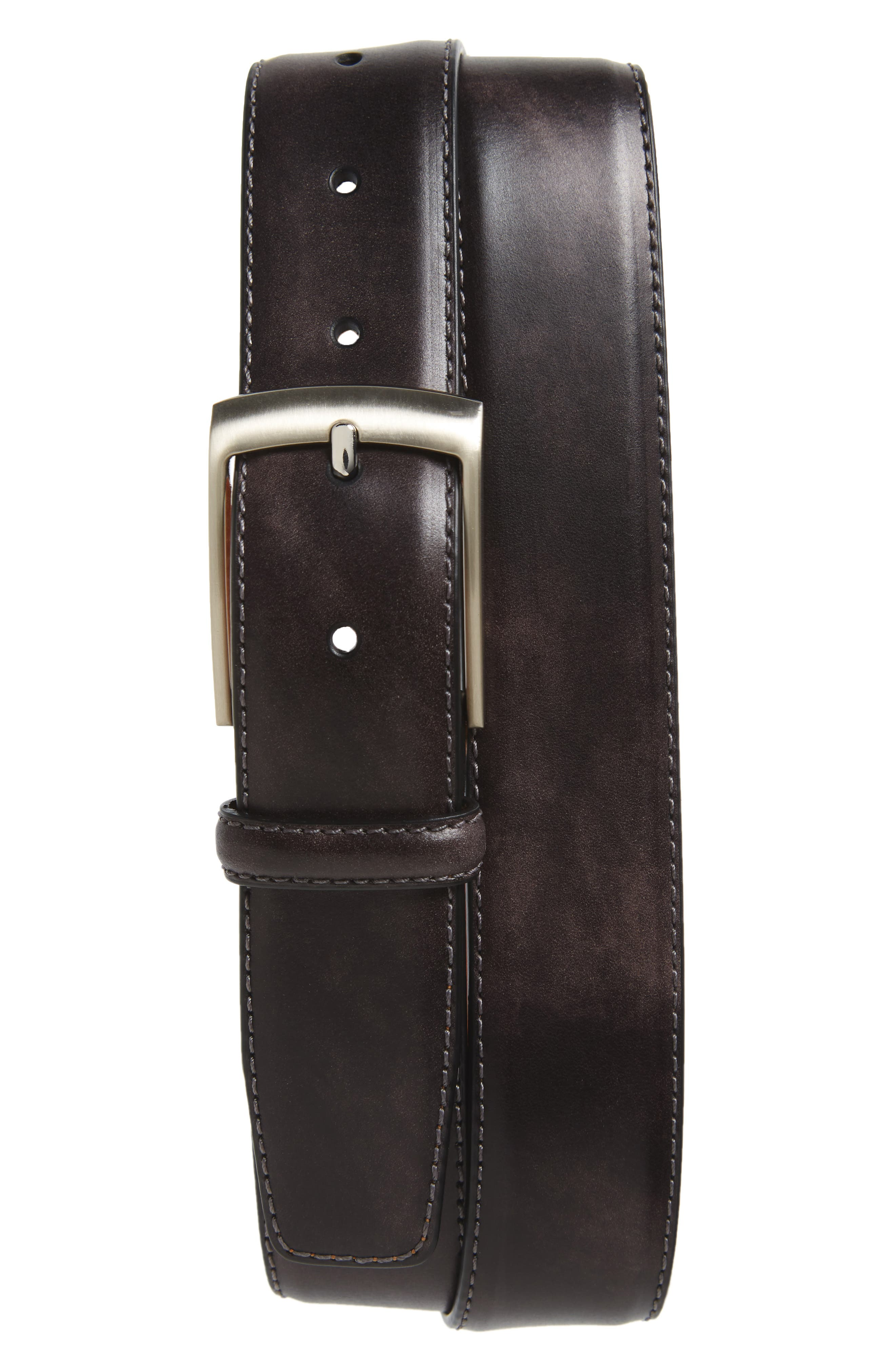 Tabon Leather Belt,                             Main thumbnail 1, color,                             GREY