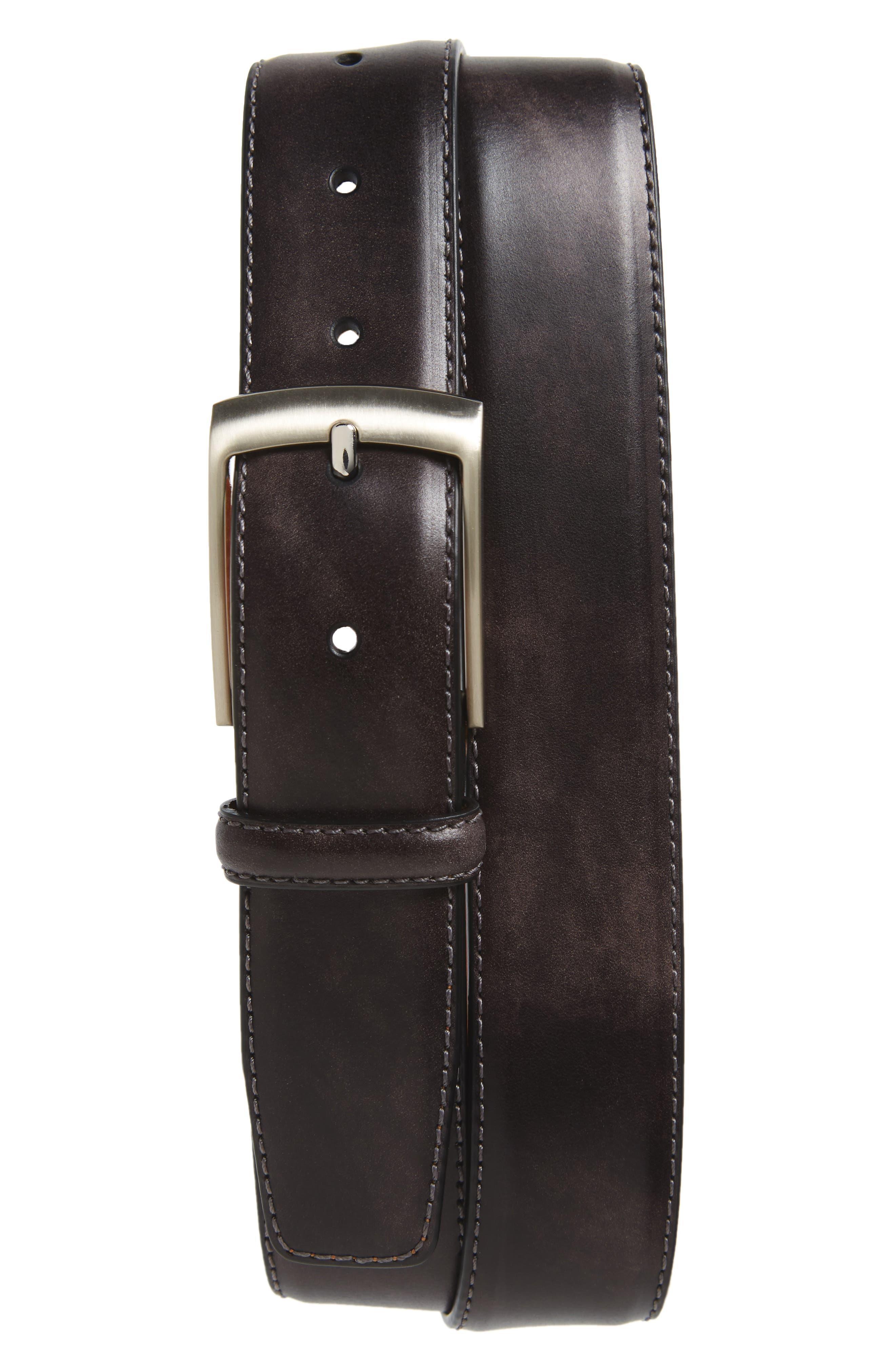 Tabon Leather Belt,                         Main,                         color, GREY